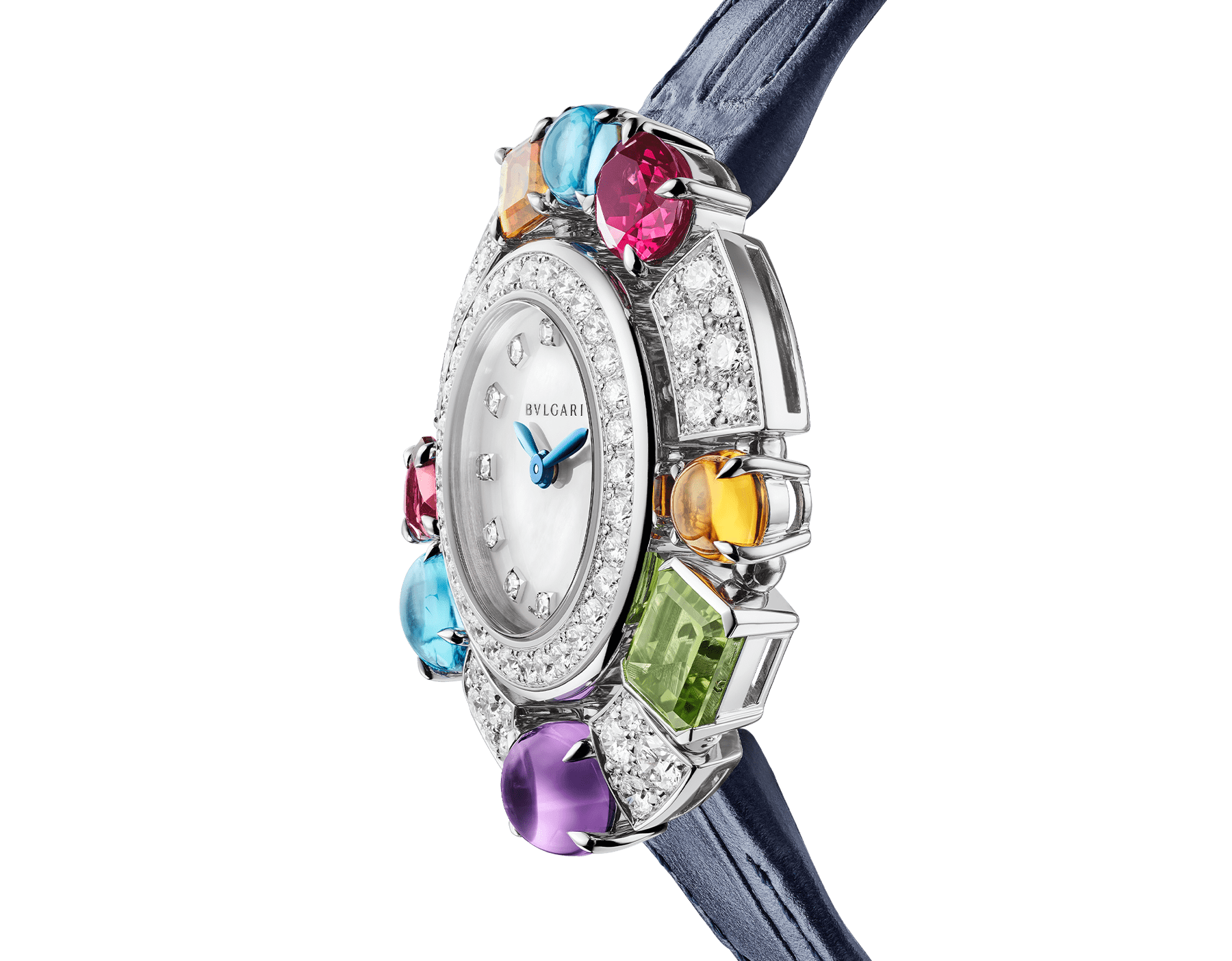 Allegra High Jewellery watch with 18 kt white gold case set with brilliant-cut diamonds, two citrines, an amethyst, a peridot, two blue topazes and two rhodolite, mother-of-pearl dial, diamond indexes and blue alligator bracelet. Water resistant up to 30 metres 103499 image 2
