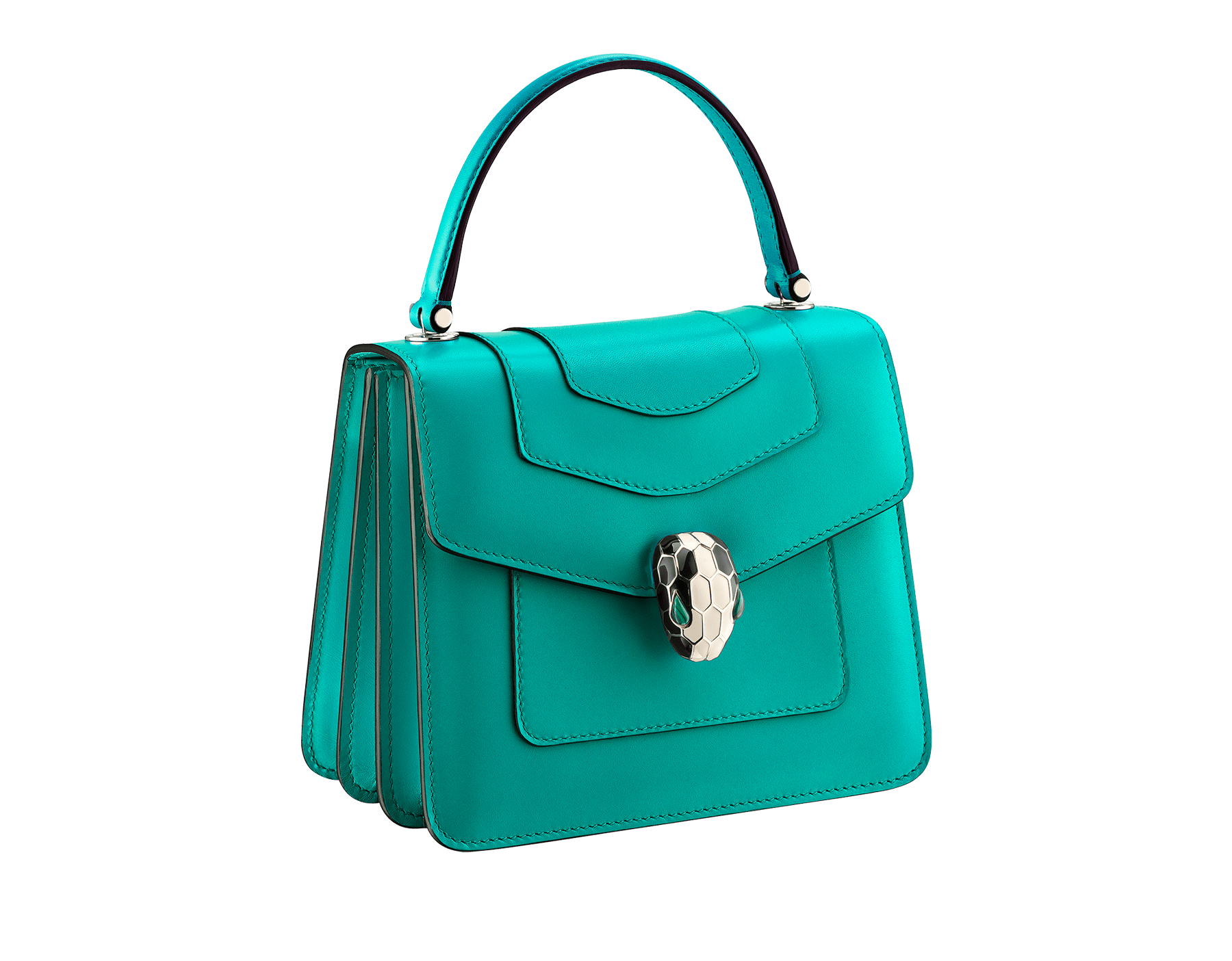 """Serpenti Forever "" crossbody bag in cobalt tourmaline calf leather. Iconic snakehead closure in light gold plated brass enriched with black and white enamel and green malachite eyes 752-CLd image 2"