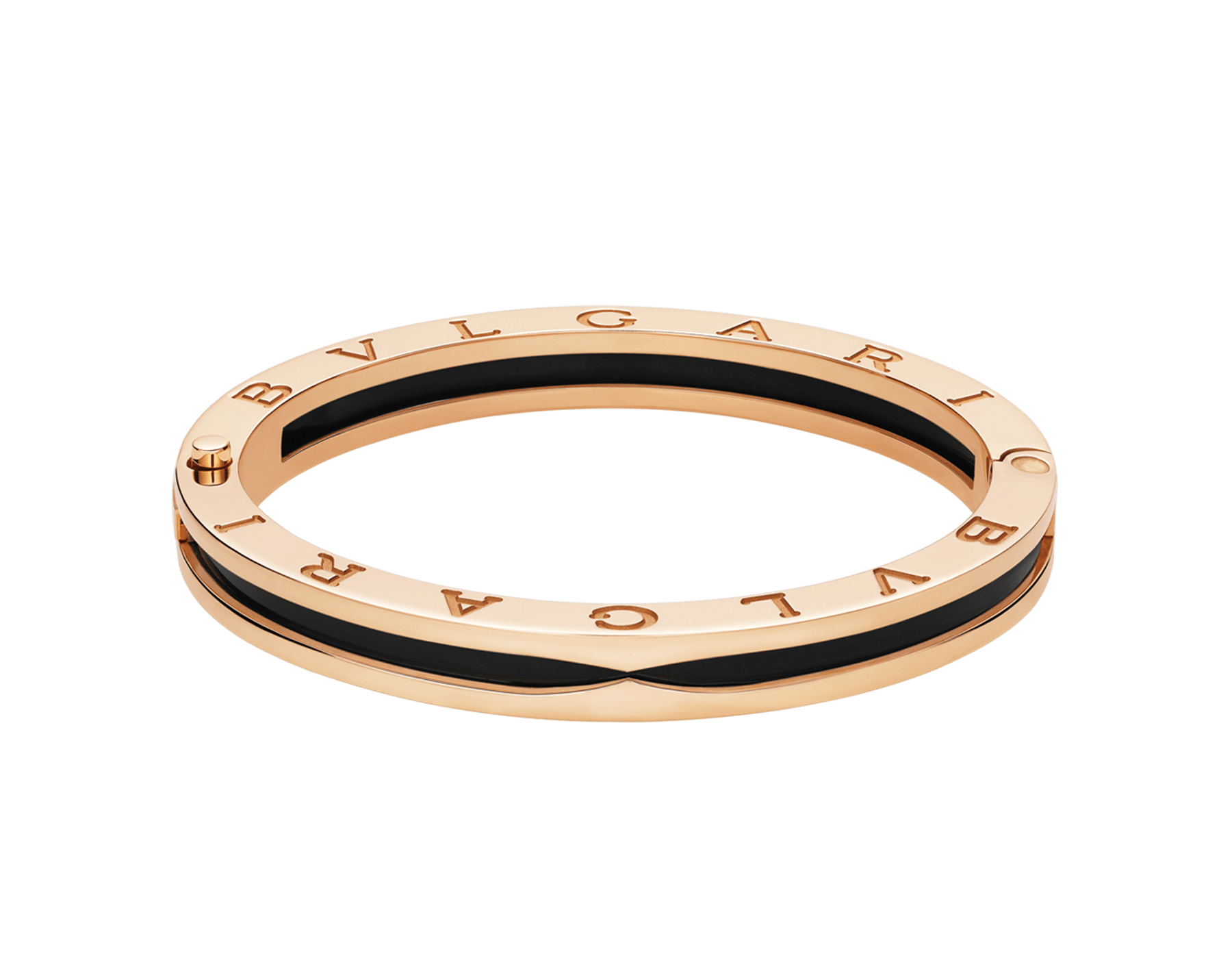 B.zero1 bangle bracelet in 18kt rose gold and black ceramic. 347576 image 1