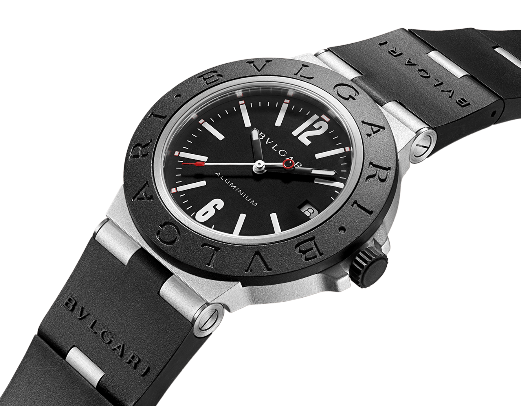 Bvlgari Aluminium watch with mechanical manufacture movement, automatic winding, 40 mm aluminium and titanium case, black rubber bezel with BVLGARI BVLGARI engraving, black dial and black rubber bracelet. Water resistant up to 100 metres 103445 image 2