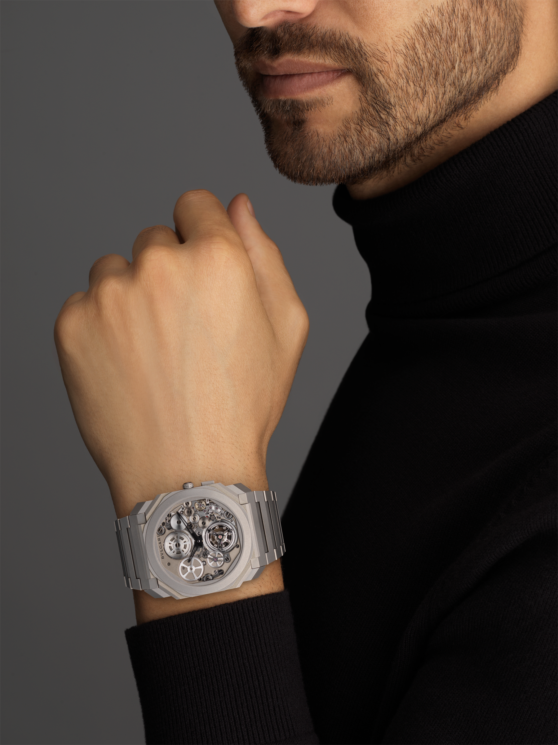 Octo Finissimo Tourbillon Automatic watch with manufacture mechanical movement, ultra-thin flying tourbillon, special ball bearing system, ultra-thin sandblasted titanium case and bracelet, and skeletonized sandblasted titanium dial 102937 image 4
