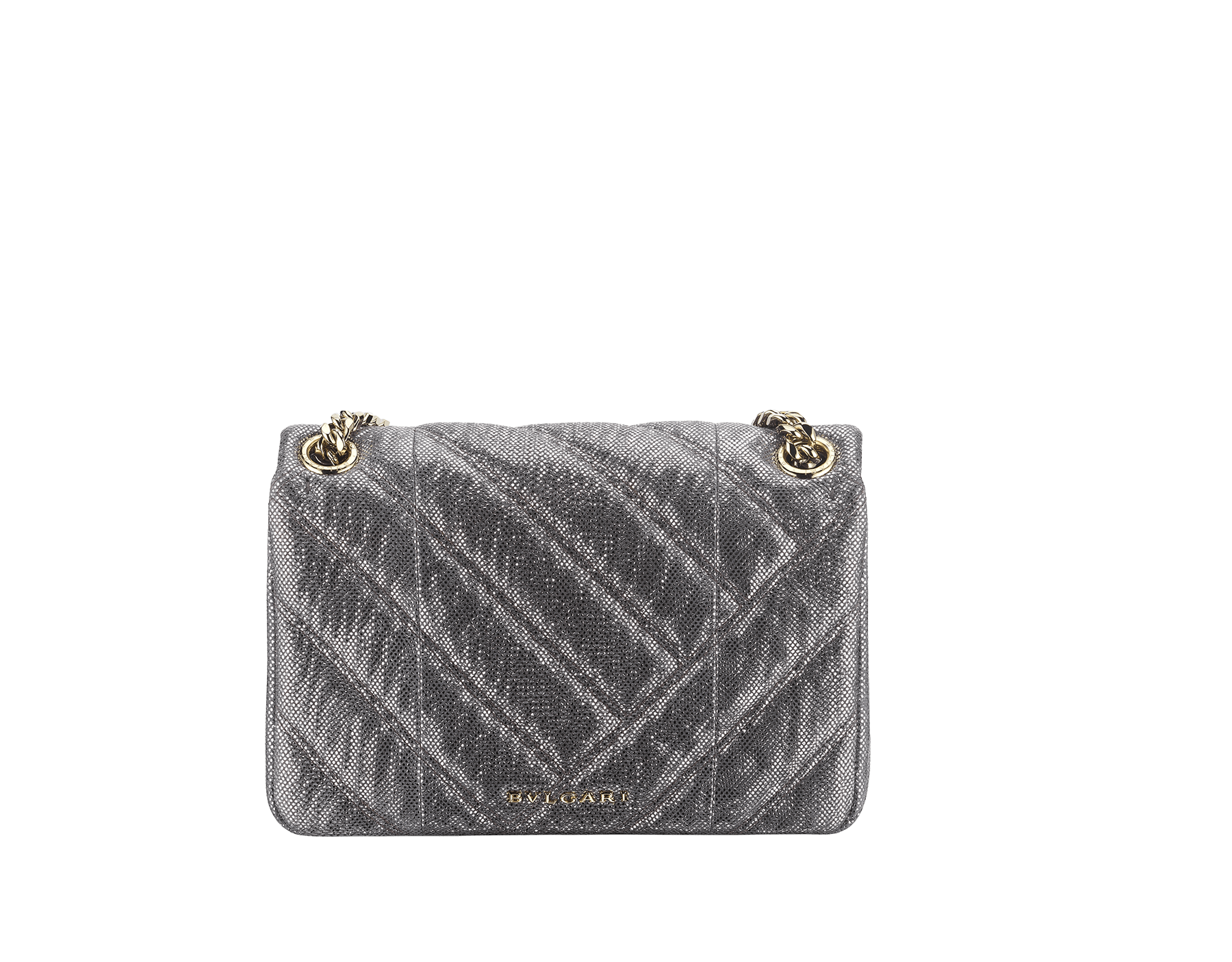 Serpenti Cabochon shoulder bag in soft matelassé charcoal diamond metallic karung skin with graphic motif. Snakehead closure in light gold plated brass decorated with matte black and glitter charcoal diamond enamel, and black onyx eyes. 290237 image 3