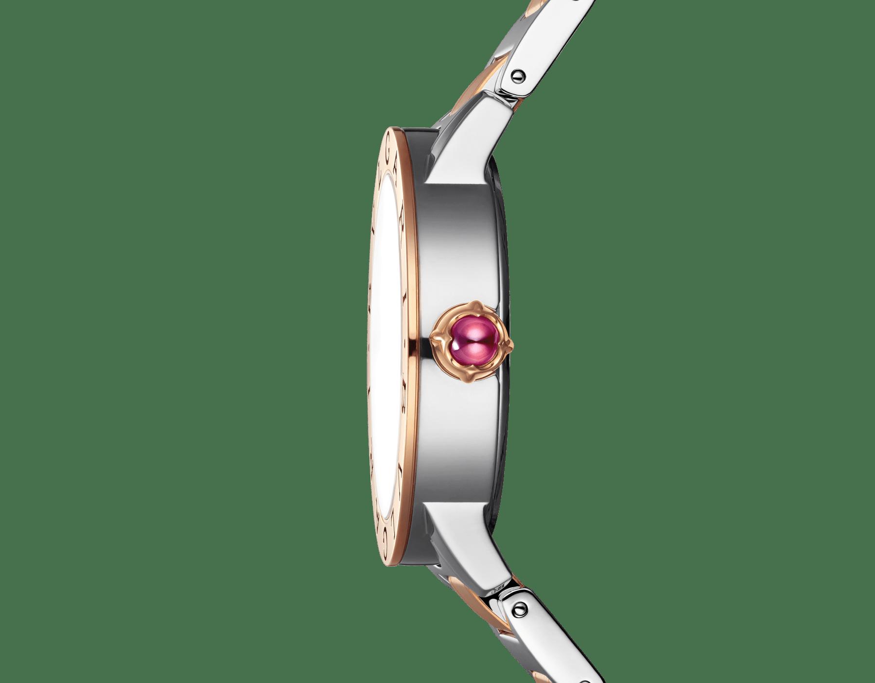 Orologio BVLGARI BVLGARI con cassa e bracciale in acciaio inossidabile e oro rosa 18 kt, quadrante bianco in madreperla e indici con diamanti. Misura media. 101891 image 3