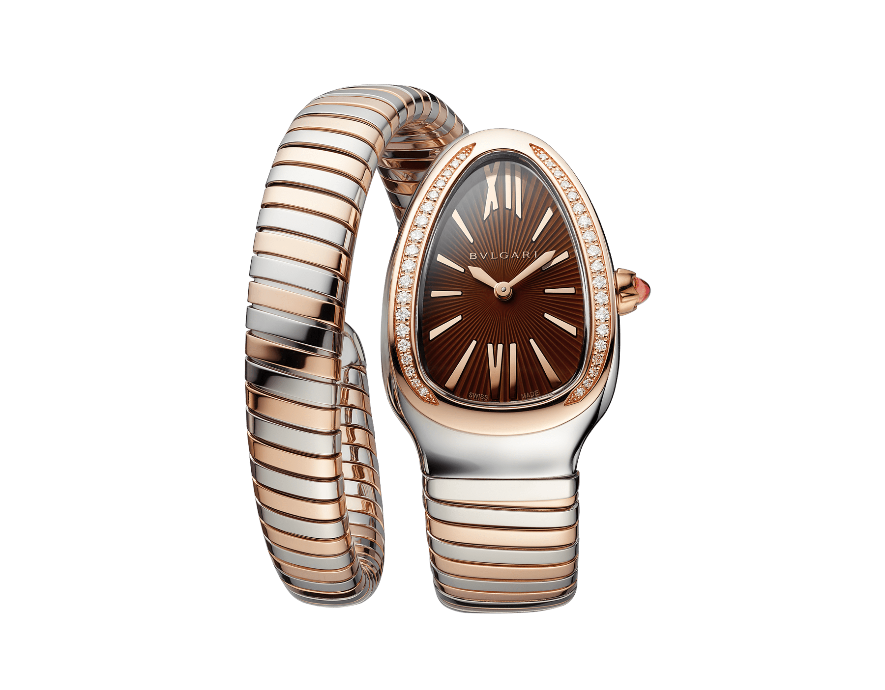 Serpenti Tubogas single spiral watch with stainless steel case, 18 kt rose gold bezel set with brilliant-cut diamonds, brown dial with guilloché soleil treatment, stainless steel and 18 kt rose gold bracelet 103071 image 1