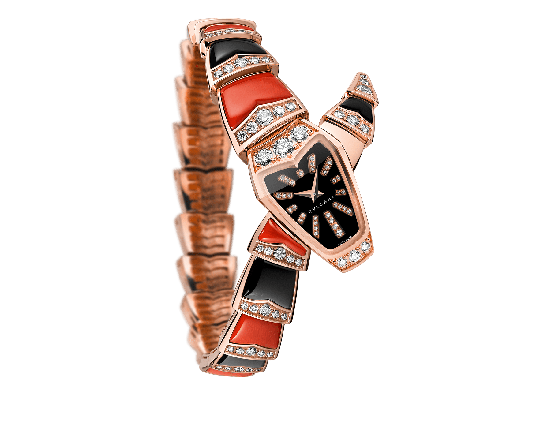 Serpenti Jewellery Watch with 18 kt rose gold case set with brilliant cut diamonds, black sapphire dial, diamond indexes, 18 kt rose gold single spiral bracelet set with brilliant cut diamonds, coral and onyx elements. 102491 image 1