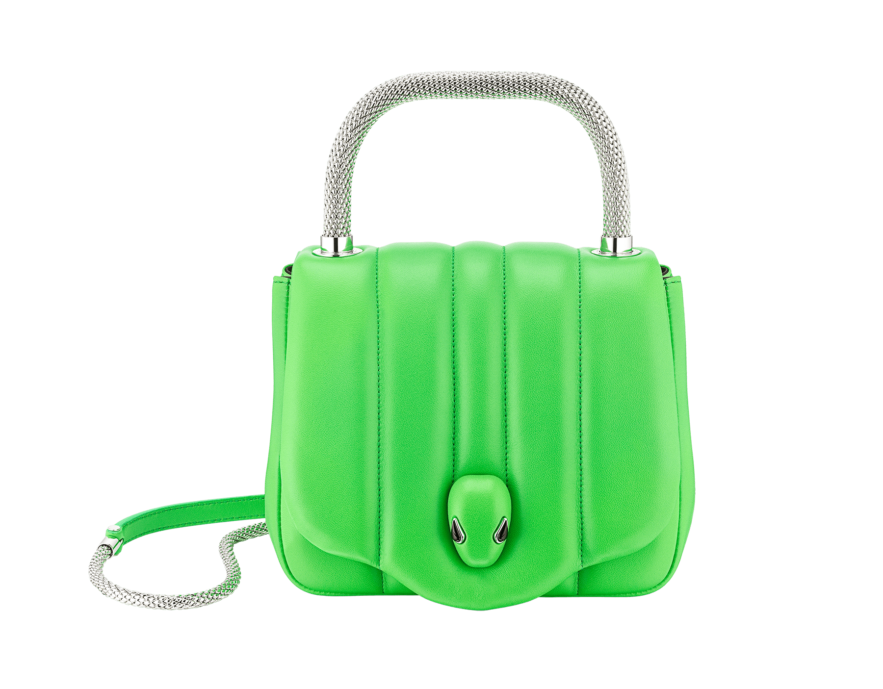 """Ambush x Bvlgari"" top handle bag in bright green nappa leather. New Serpenti head closure in palladium plated brass dressed with bright green nappa leather, finished with seductive black onyx eyes. Limited edition. 290346 image 1"