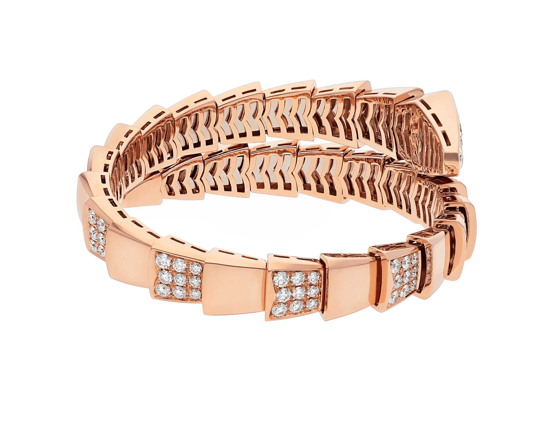 Serpenti Viper one-coil bracelet in 18 kt rose gold, set with demi pavé diamonds. BR855312 image 3