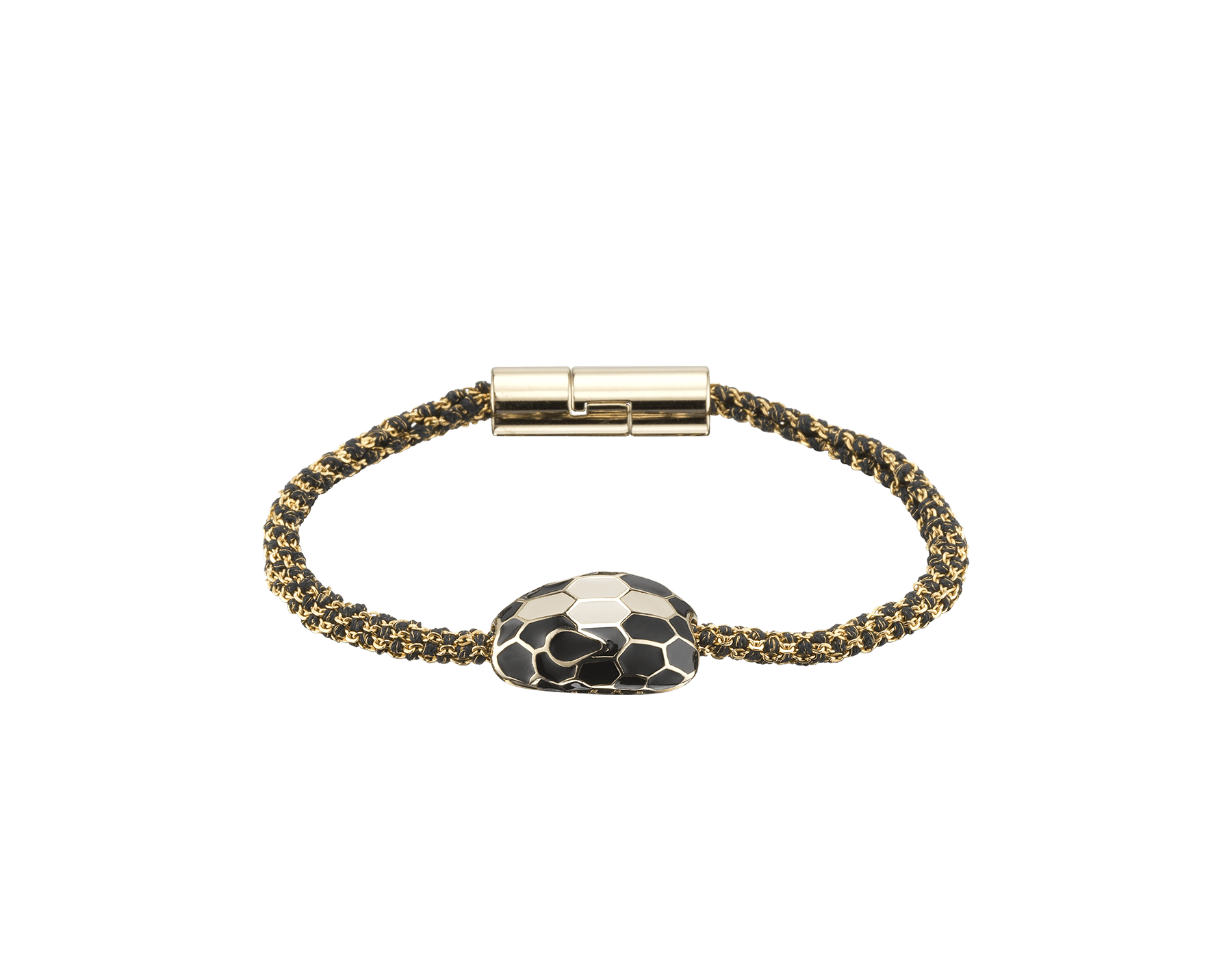 Serpenti Forever bracelet in black metallic woven silk with an iconic snakehead décor in black and white enamel. RollingChain-S-B image 1