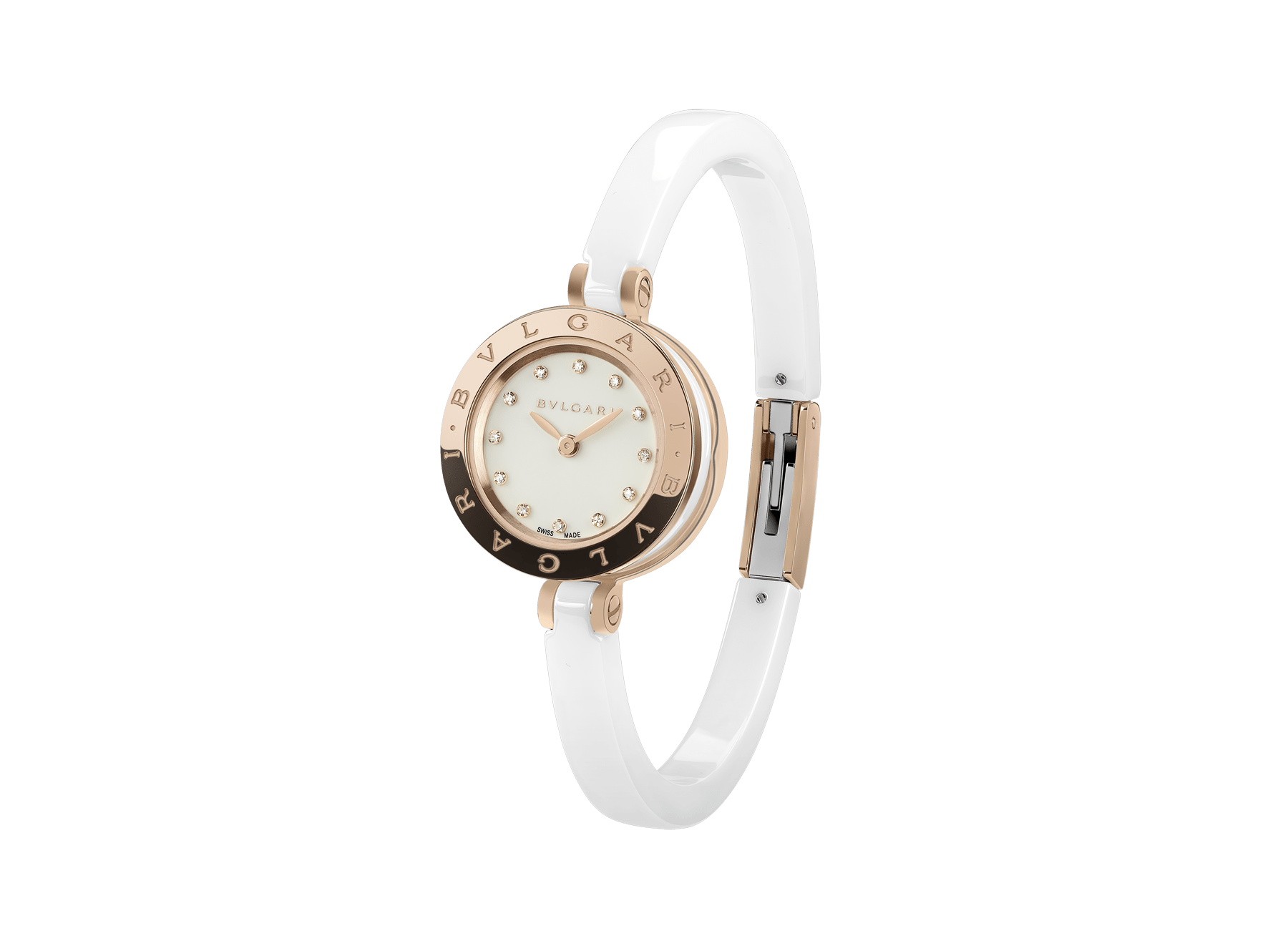 B.zero1 watch with 18 kt rose gold and white ceramic case, white lacquered dial set diamond indexes, white ceramic bangle and 18 kt rose gold clasp. 102174 image 1