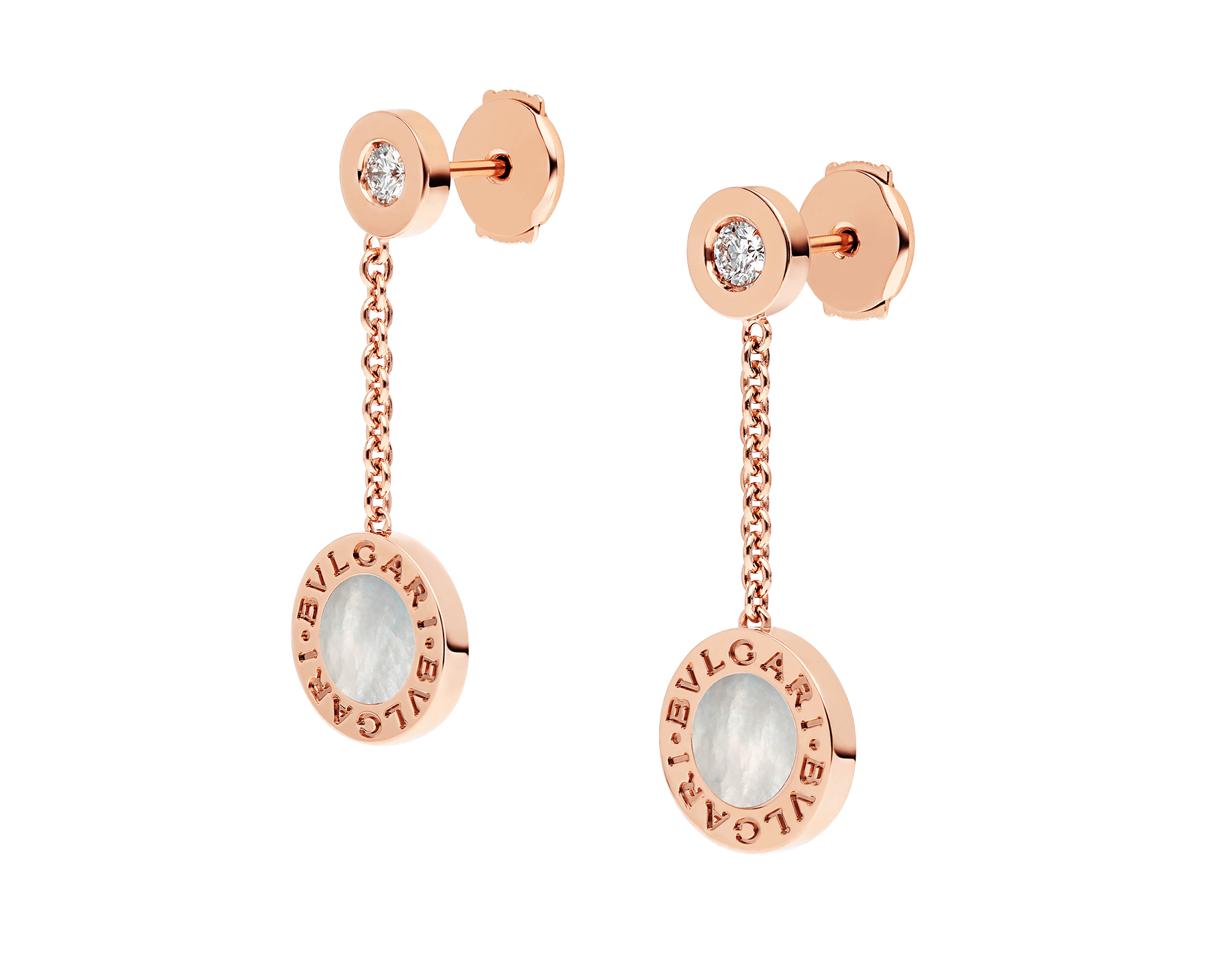 BVLGARI BVLGARI 18 kt rose gold earrings set with mother-of-pearl and diamonds 351086 image 2