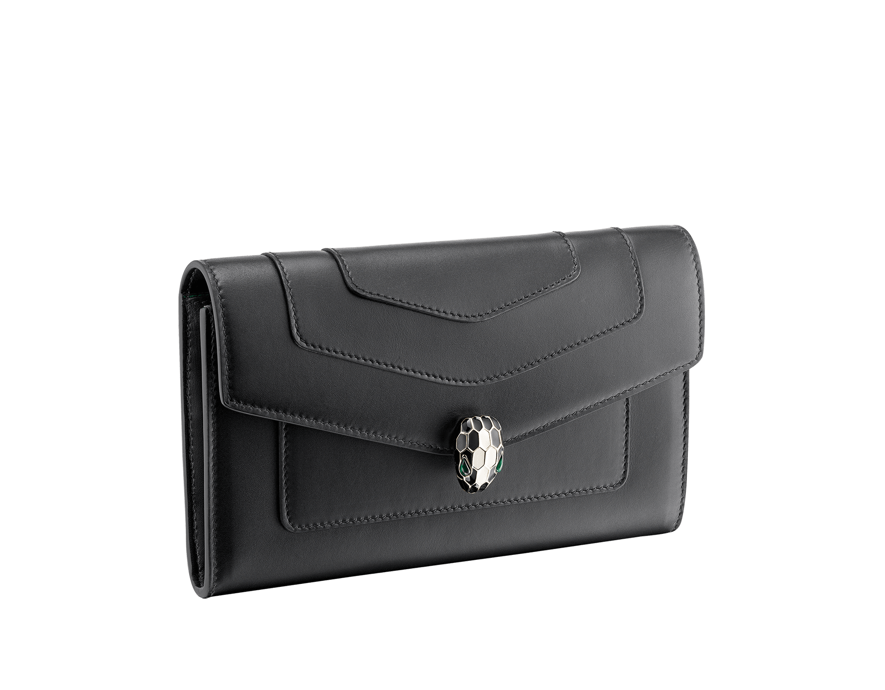 """Serpenti Forever"" new large wallet in black soft calf leather and emerald green nappa leather. Brass light gold plated iconic snakehead closure in black and white agate enamel, finished with green malachite eyes. SEA-LONGWLT image 1"