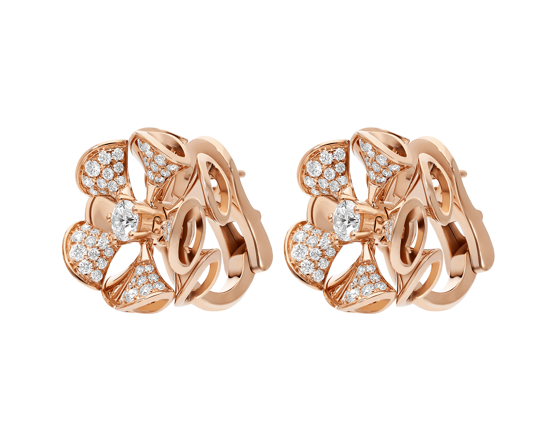 DIVAS' DREAM earrings in 18 kt rose gold set with a central diamond and pavé diamonds. 350784 image 2