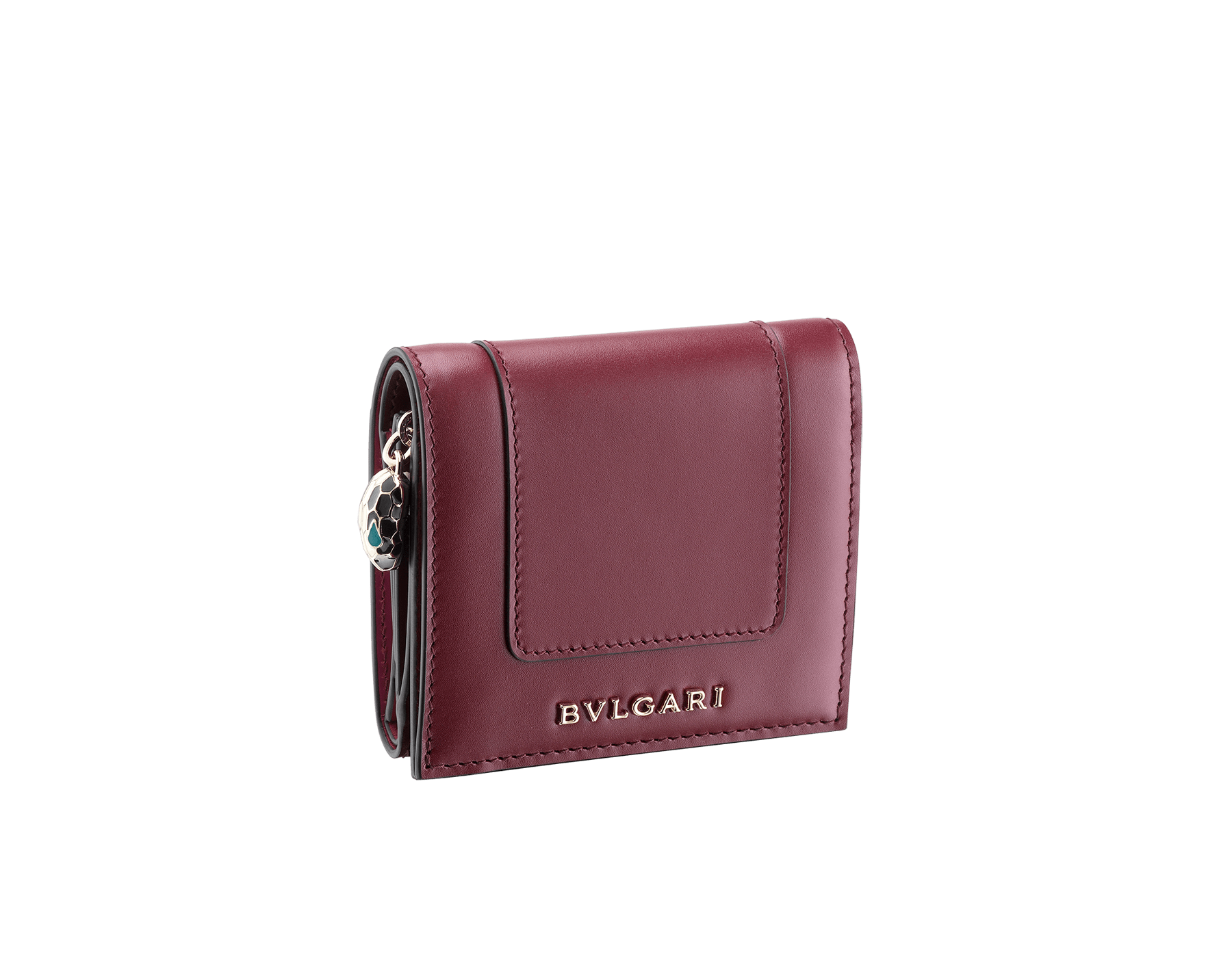 Serpenti Forever super compact wallet in roman garnet and pink spinel calf leather. Iconic snakehead zip puller in black and white enamel, with green malachite enamel eyes. 288036 image 1