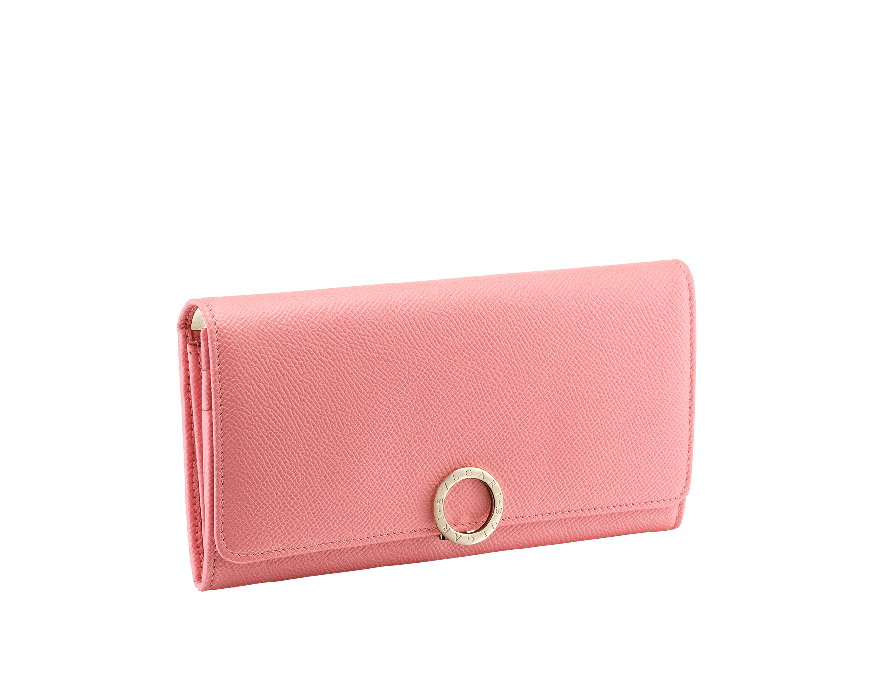 BVLGARI BVLGARI large wallet in mint bright grain calf leather and taffy quartz nappa leather. Iconic logo closure clip in light gold plated brass. 579-WLT-POCHE-16CCa image 1
