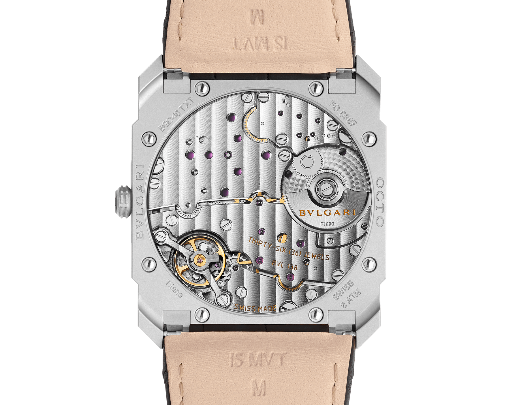 Octo Finissimo Automatic watch with mechanical manufacture movement, automatic winding, platinum microrotor, small seconds, extra-thin stainless steel case and dial, and black alligator bracelet 103035 image 4