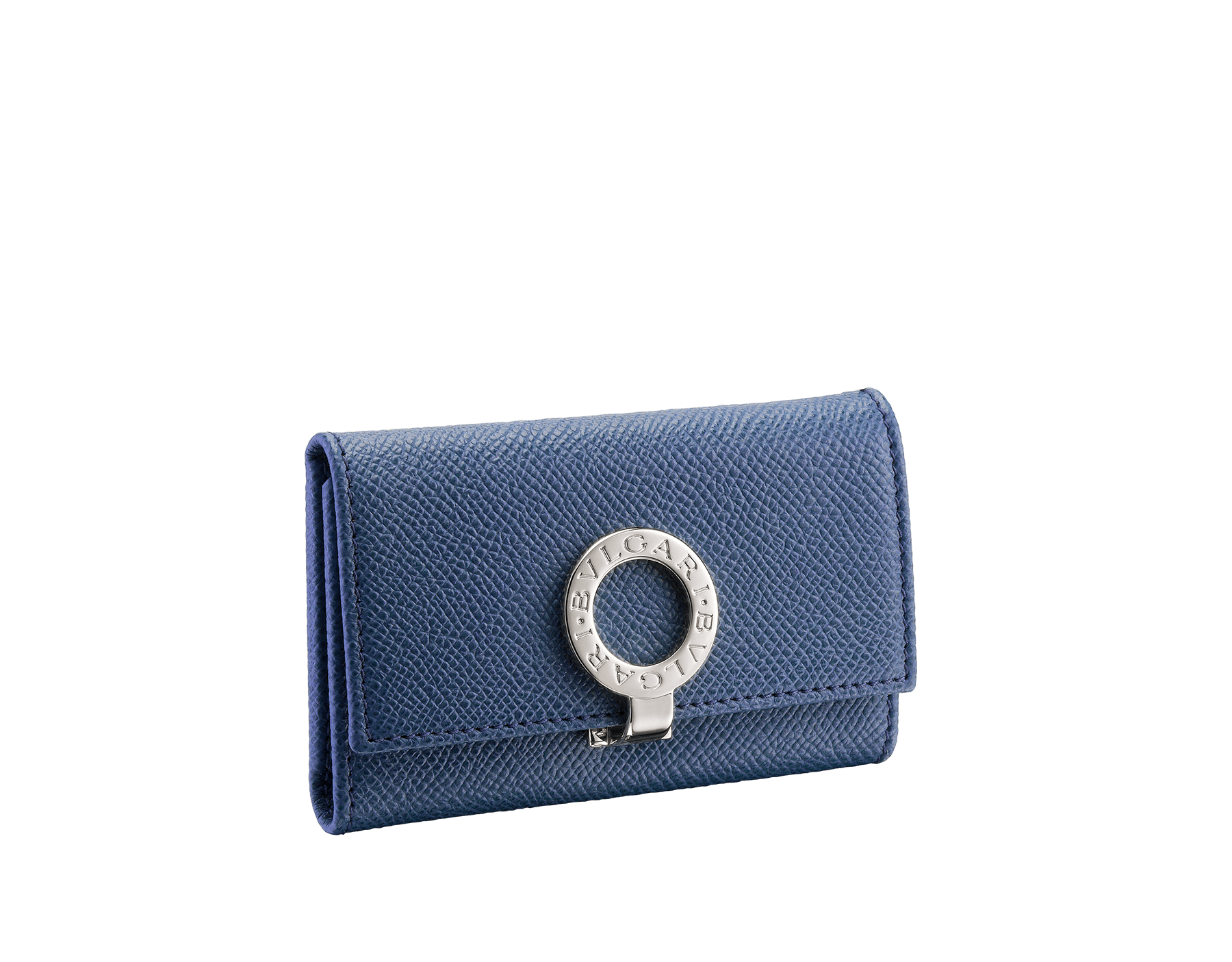 Small keyholder in denim sapphire grain calf leather and bordeaux nappa lining. Iconic brass palladium plated clip featuring the BVLGARI BVLGARI motif. 286891 image 1