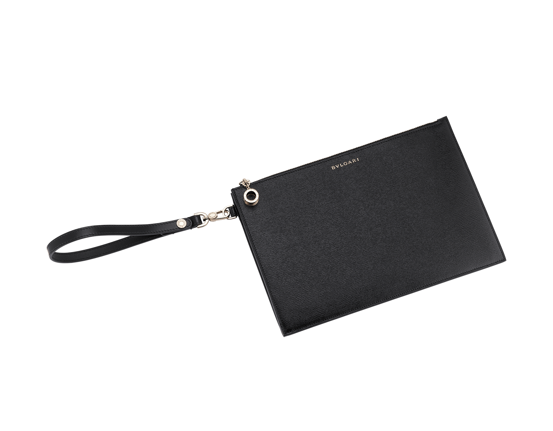 """""""B.ZERO1"""" large pochette in black and white agate goatskin and black nappa leather. Zipped closure with the iconic B.ZERO1 charm in light gold plated brass. BZA-ZIPPOCHETTEL image 1"""