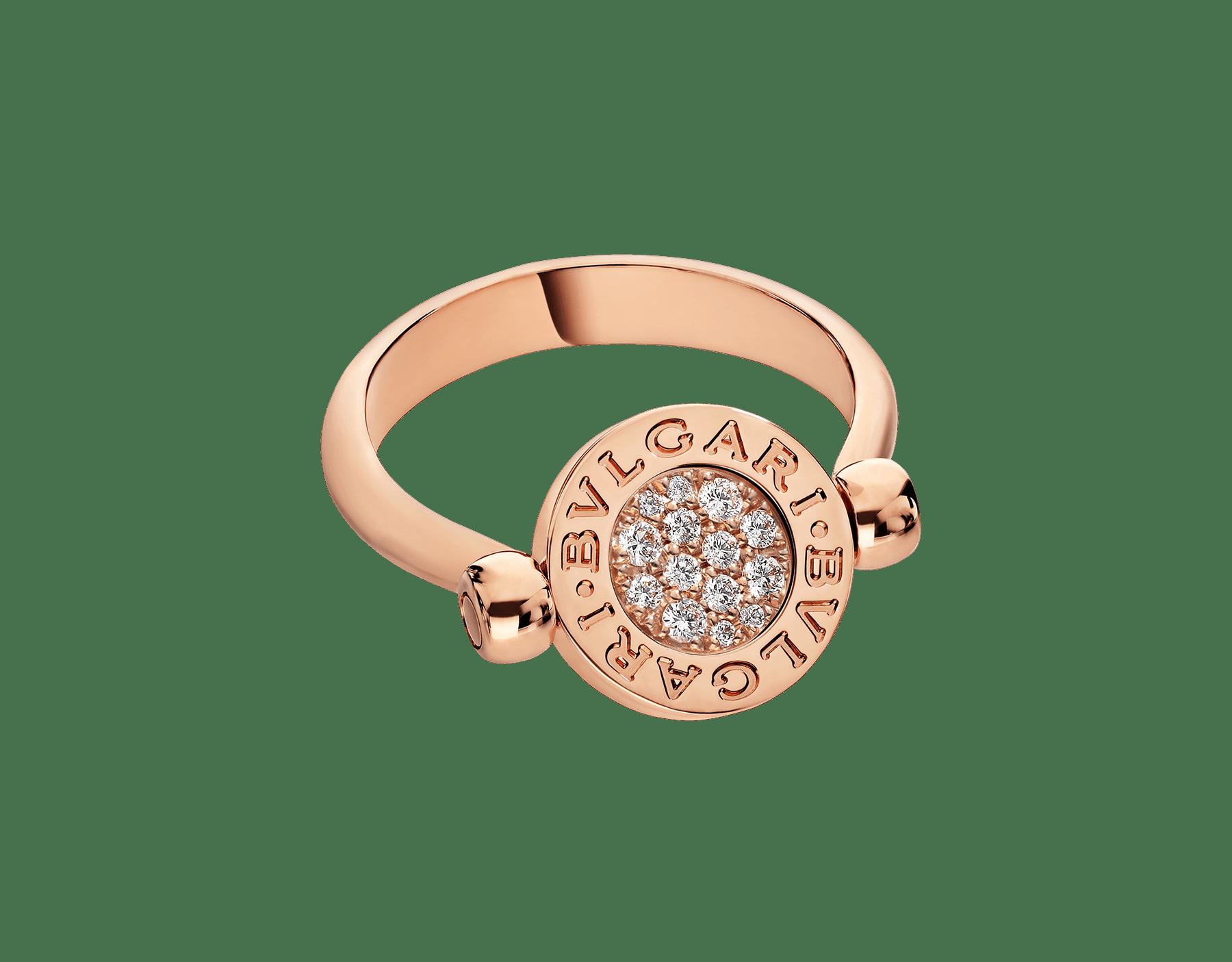 BVLGARI BVLGARI 18 kt rose gold flip ring set with green jade and pavé diamonds AN857356 image 4