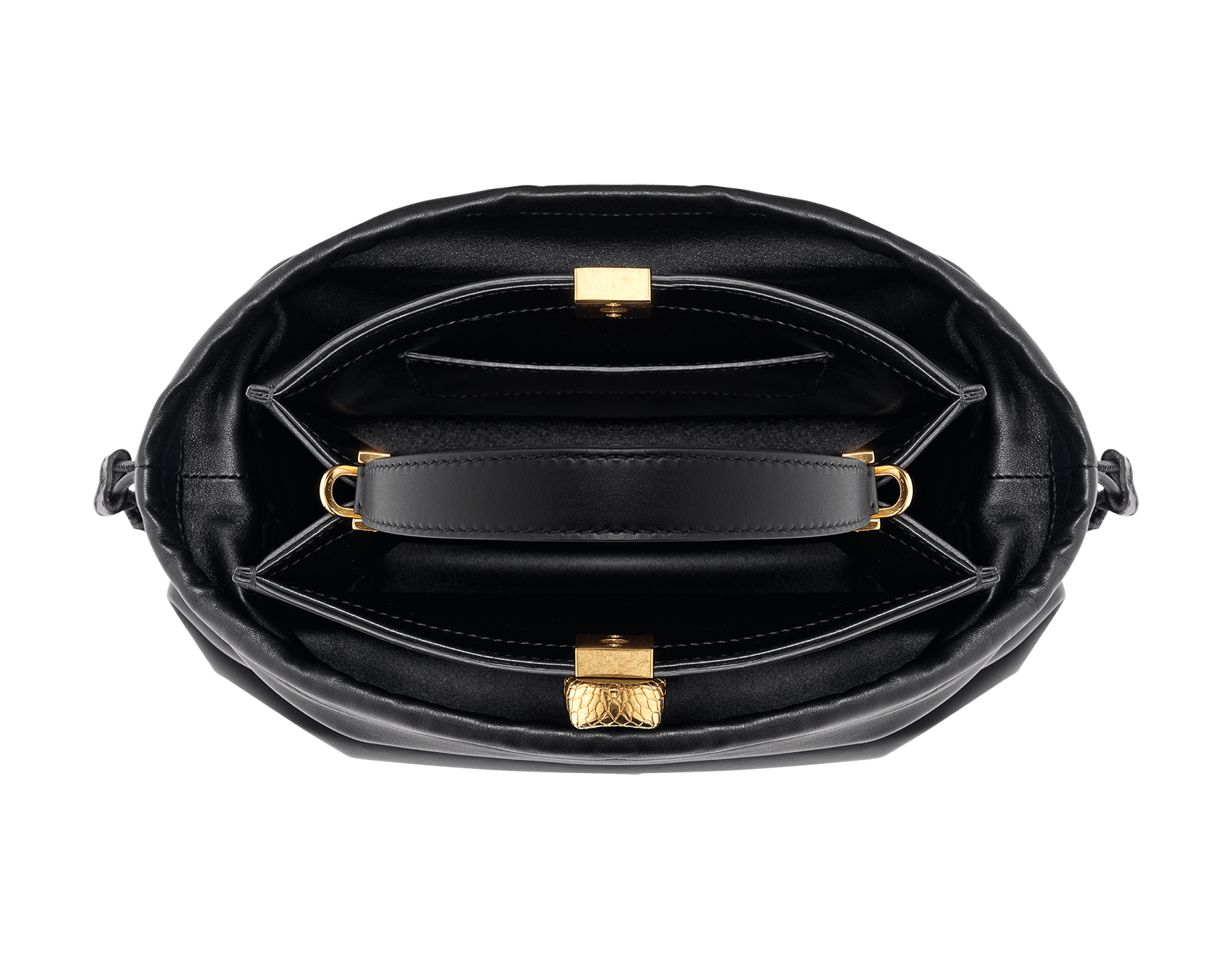Alexander Wang x Bvlgari 2 in 1 satchel bag in black calf leather with black lambskin drawstring dust bag exterior. New Serpenti head closure in antique gold plated brass with tempting red enamel eyes. Limited edition. 288747 image 4