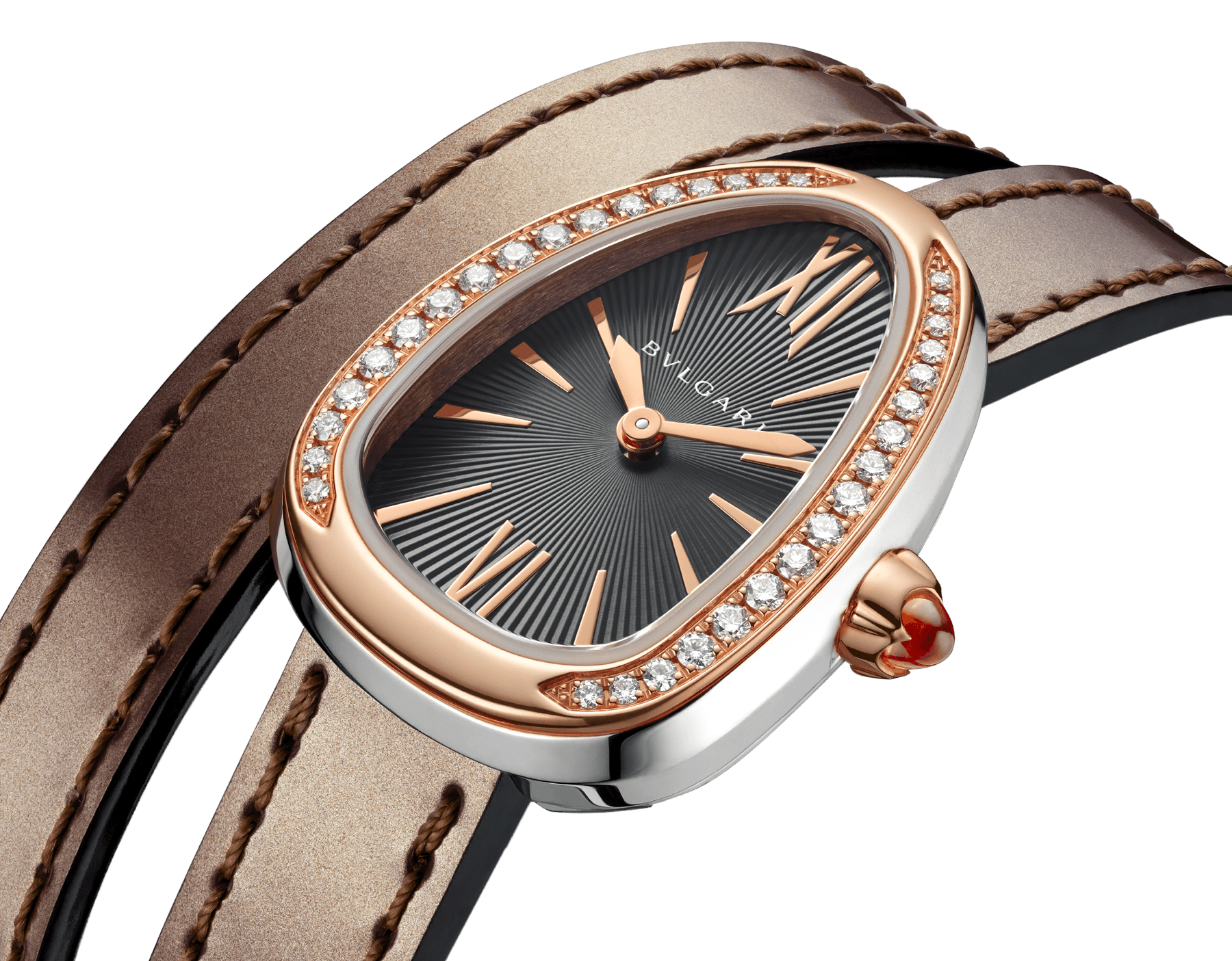 Serpenti watch with stainless steel case, 18 kt rose gold bezel set with diamonds, grey lacquered dial and interchangeable double spiral bracelet in antique bronze brushed metallic calf leather. 102968 image 3
