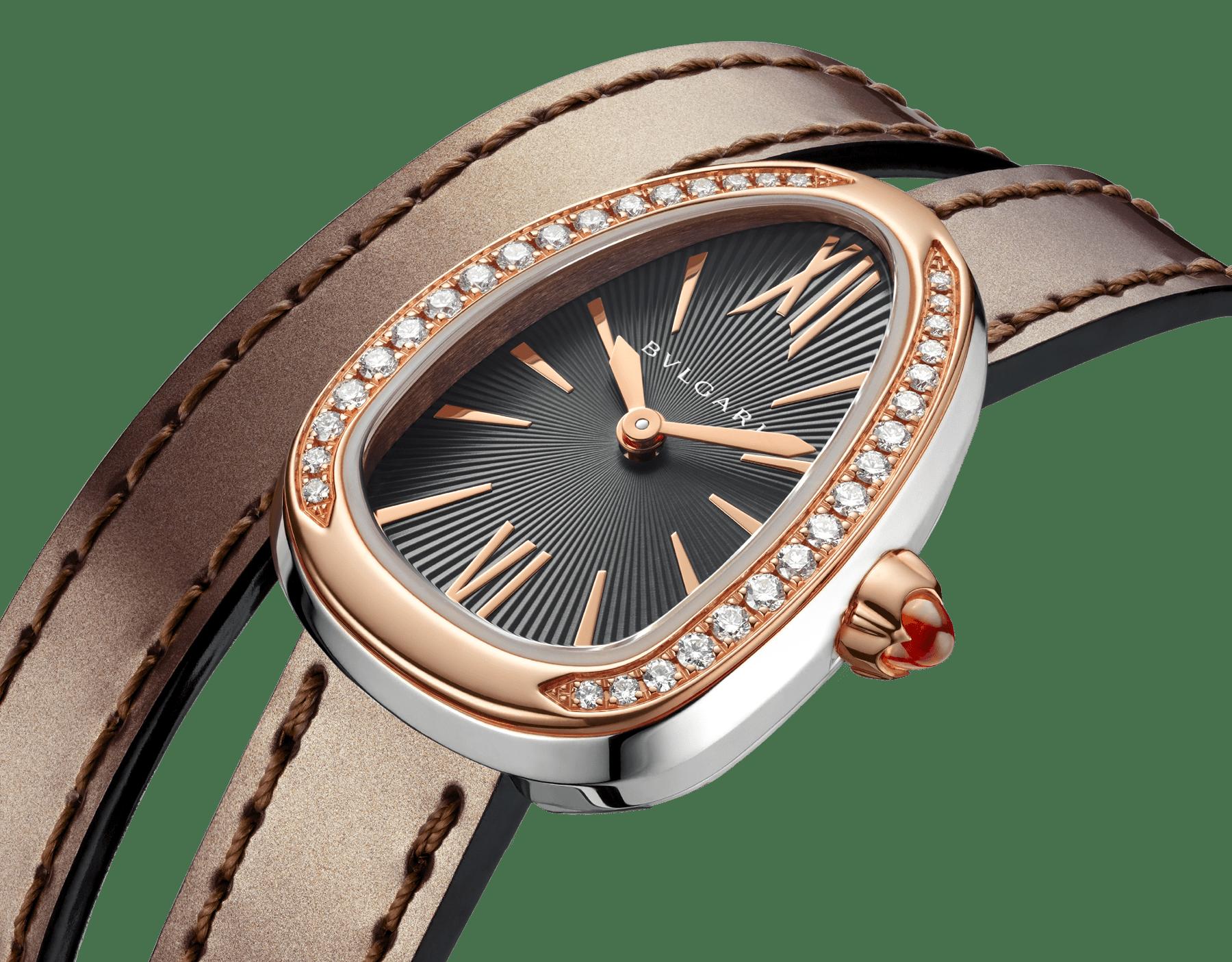 Relógio Serpenti com caixa em aço inoxidável, bezel em ouro rosa 18 K cravejado com diamantes, mostrador laqueado cinza e pulseira de duas voltas intercambiável em couro de novilho bronze antigo metálico escovado. 102968 image 3