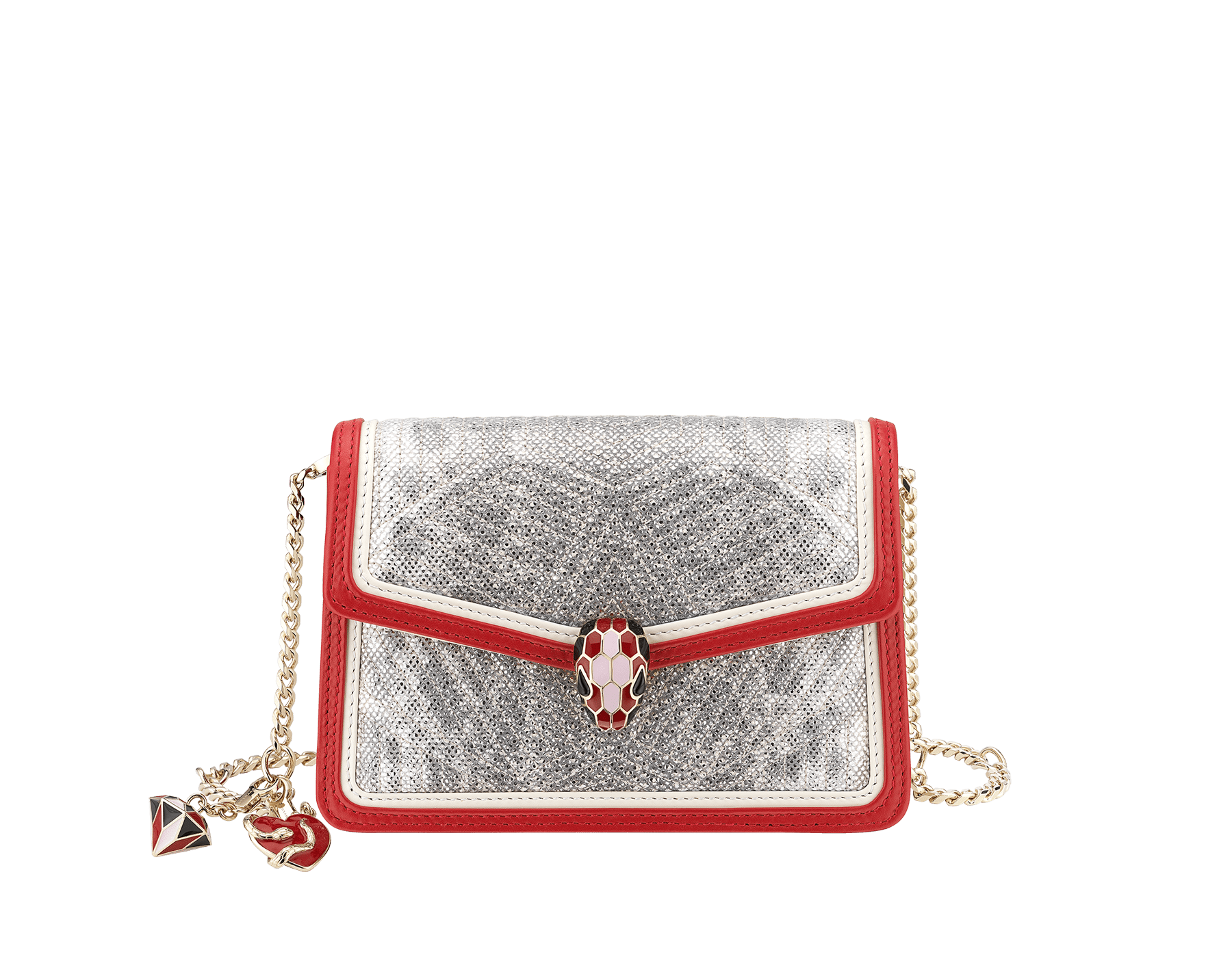 Serpenti Diamond Blast crossbody micro bag in white agate quilted metallic karung skin body and carmine jasper and white agate calf leather frames. Snakehead closure in light gold plated brass with black, carmine jasper and rosa di Francia enamel, black onyx eyes, heart-shaped and three-dimensional diamond-shaped detachable charms. 289550 image 1