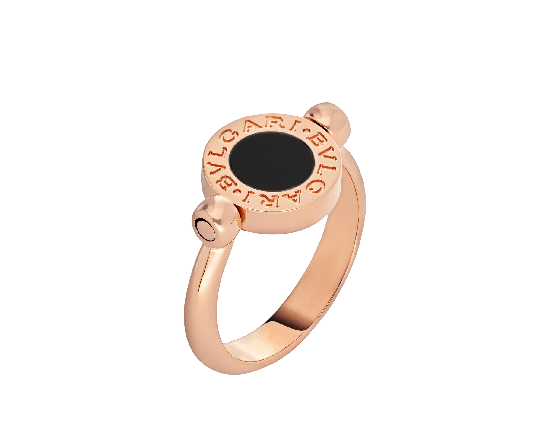 BVLGARI BVLGARI 18 kt rose gold flip ring set with mother-of-pearl and onyx AN856192 image 1