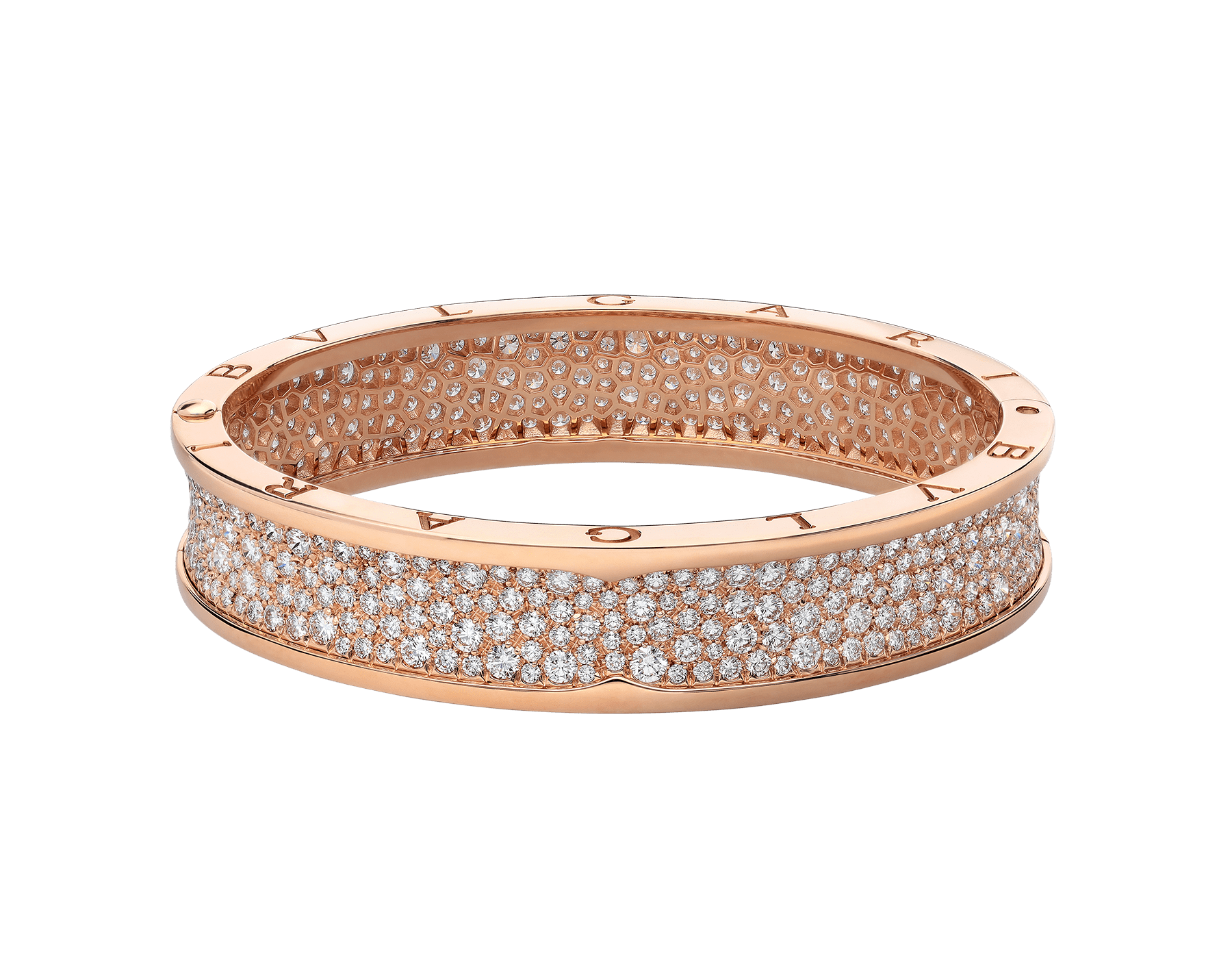 B.zero1 large bangle bracelet in 18 kt rose gold set with pavé diamonds on the spiral. BR856163 image 2