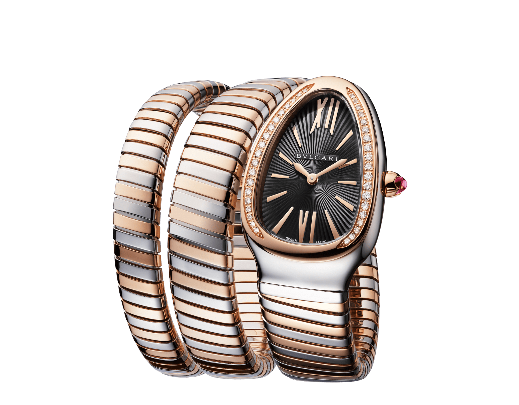 Serpenti Tubogas double spiral watch with stainless steel case, 18 kt rose gold bezel set with brilliant cut diamonds, black opaline dial, 18 kt rose gold and stainless steel bracelet. 102099 image 2