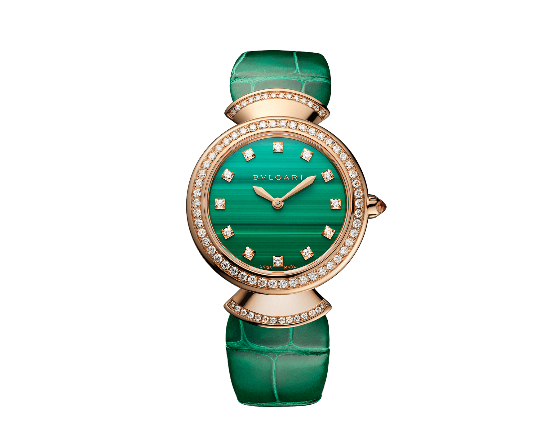 DIVAS' DREAM watch with 18 kt rose gold case, 18 kt rose gold bezel and fan-shaped links both set with brilliant-cut diamonds, malachite dial, diamond indexes and green alligator strap 103119 image 1