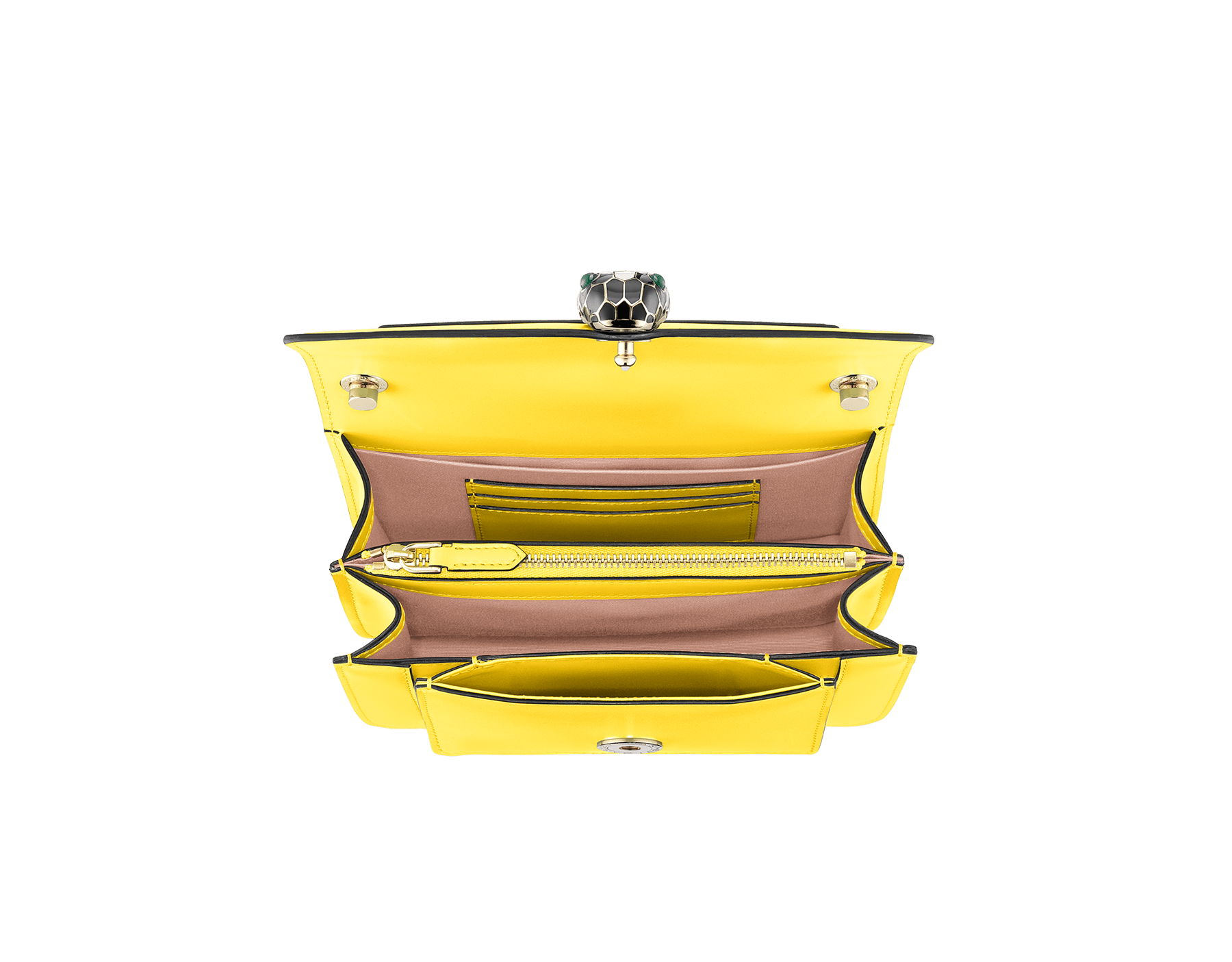 """Serpenti Forever"" crossbody bag in daisy topaz calf leather. Iconic snake head closure in light gold plated brass enriched with black and white enamel and green malachite eyes. 289672 image 4"