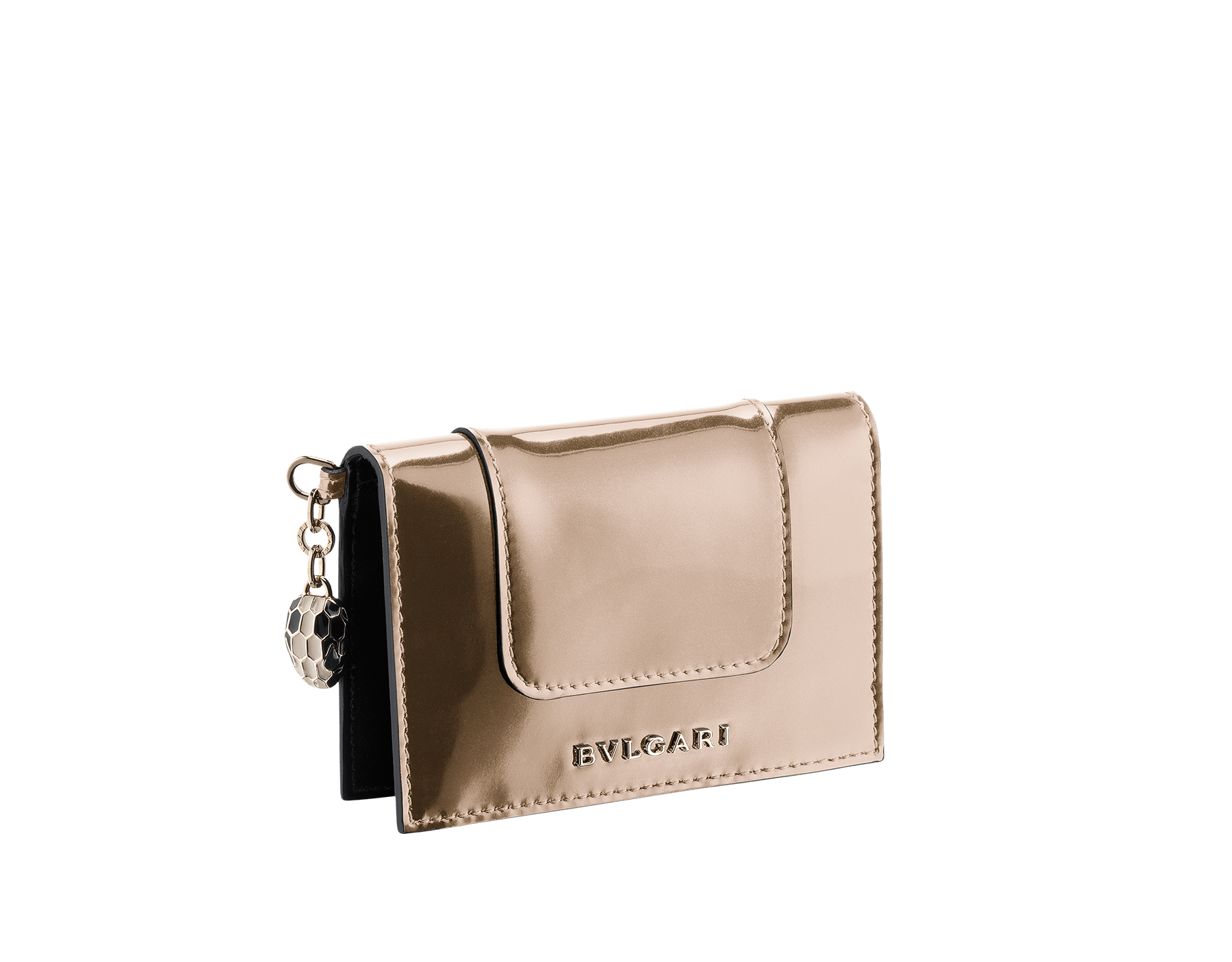 Folded credit card holder in antique bronze calf leather and black calf leather, with brass light gold plated hardware and stud closure. Serpenti head charm in black and white enamel with malachite enamel eyes. 282033 image 1
