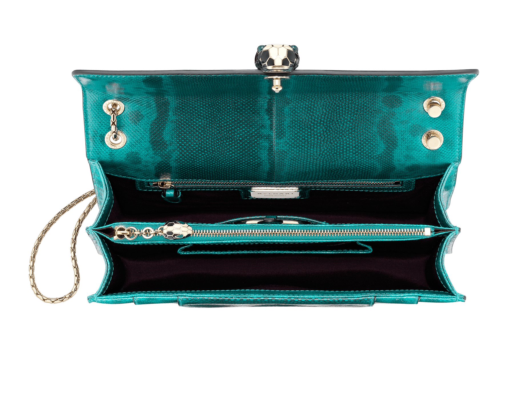 Serpenti Forever shoulder bag in tropical turquoise shiny karung skin. Snakehead closure in light gold plated brass decorated with black and white enamel, and green malachite eyes. 287917 image 4