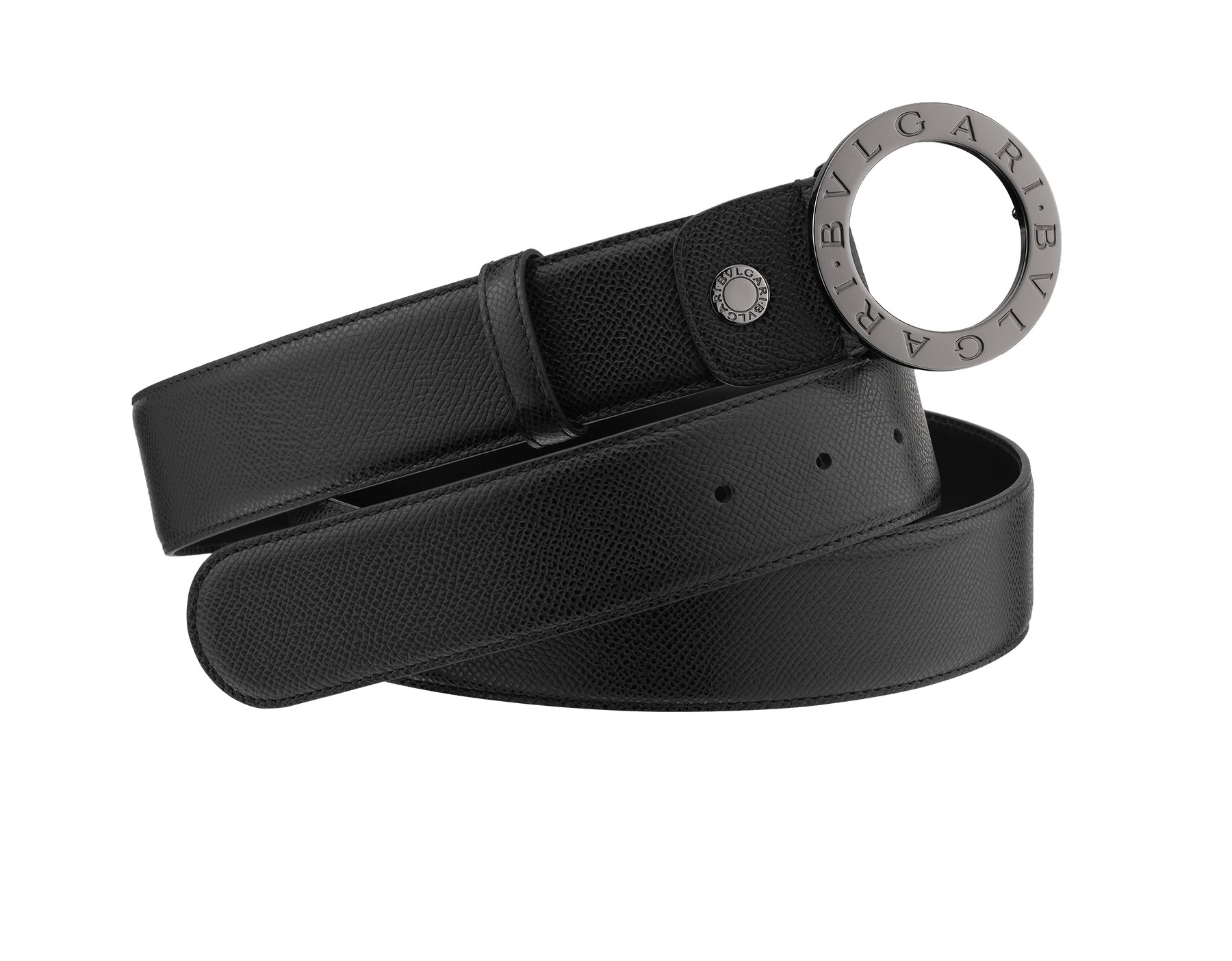 Woman Belt in royal sapphire bright grain calf leather with iconic round BVLGARI BVLGARI closure in light gold. Also available in other colours and in other materials. Resizable. ROUND-S-GCL image 1