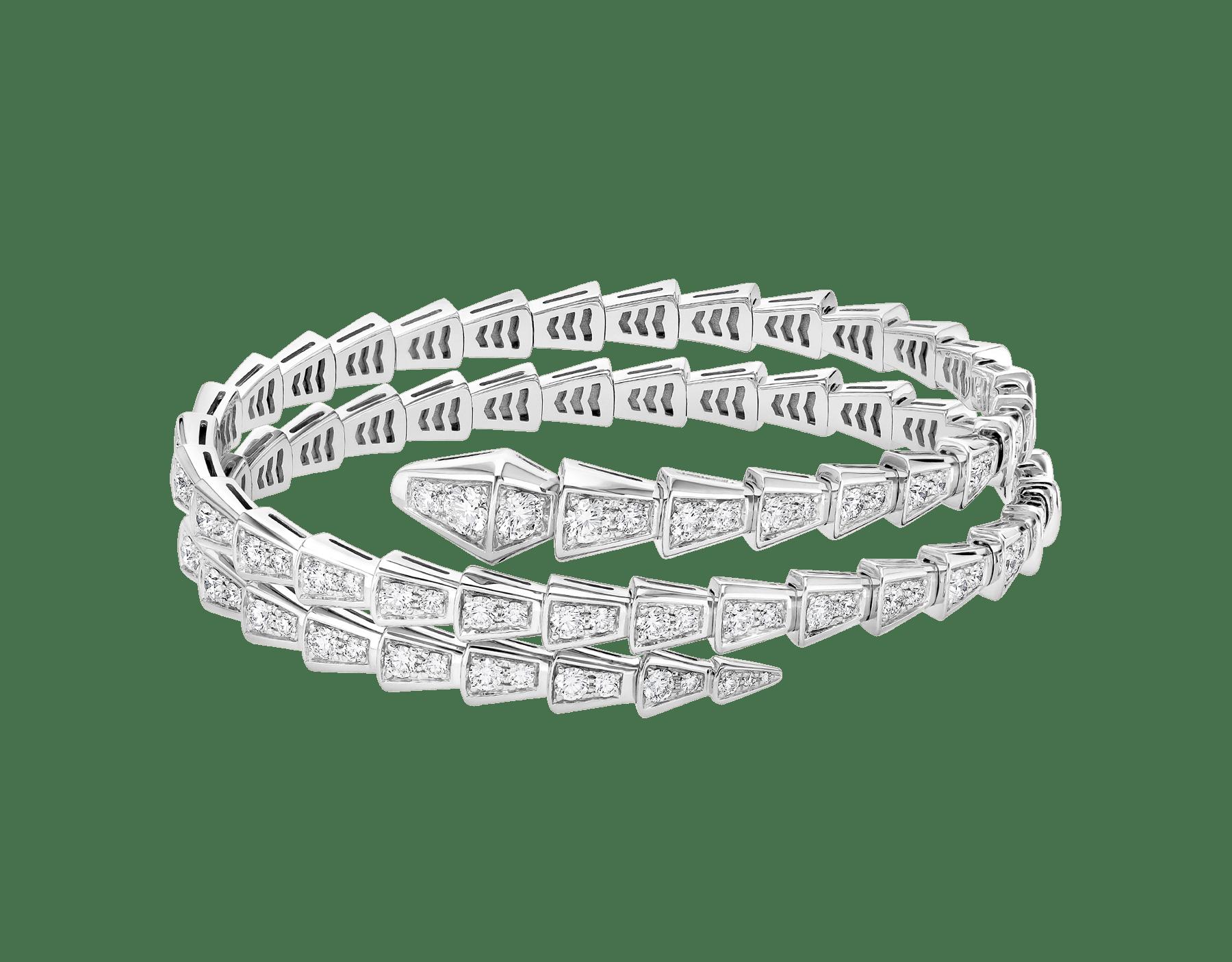 Bracelet deux tours Serpenti Viper en or blanc 18K avec pavé diamants BR858795 image 2