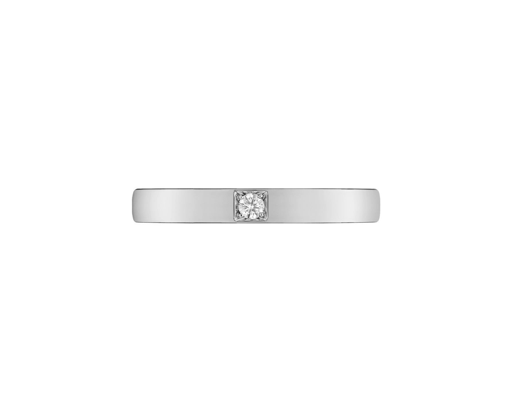 MarryMe platinum wedding band, set with a diamond. AN854104 image 2