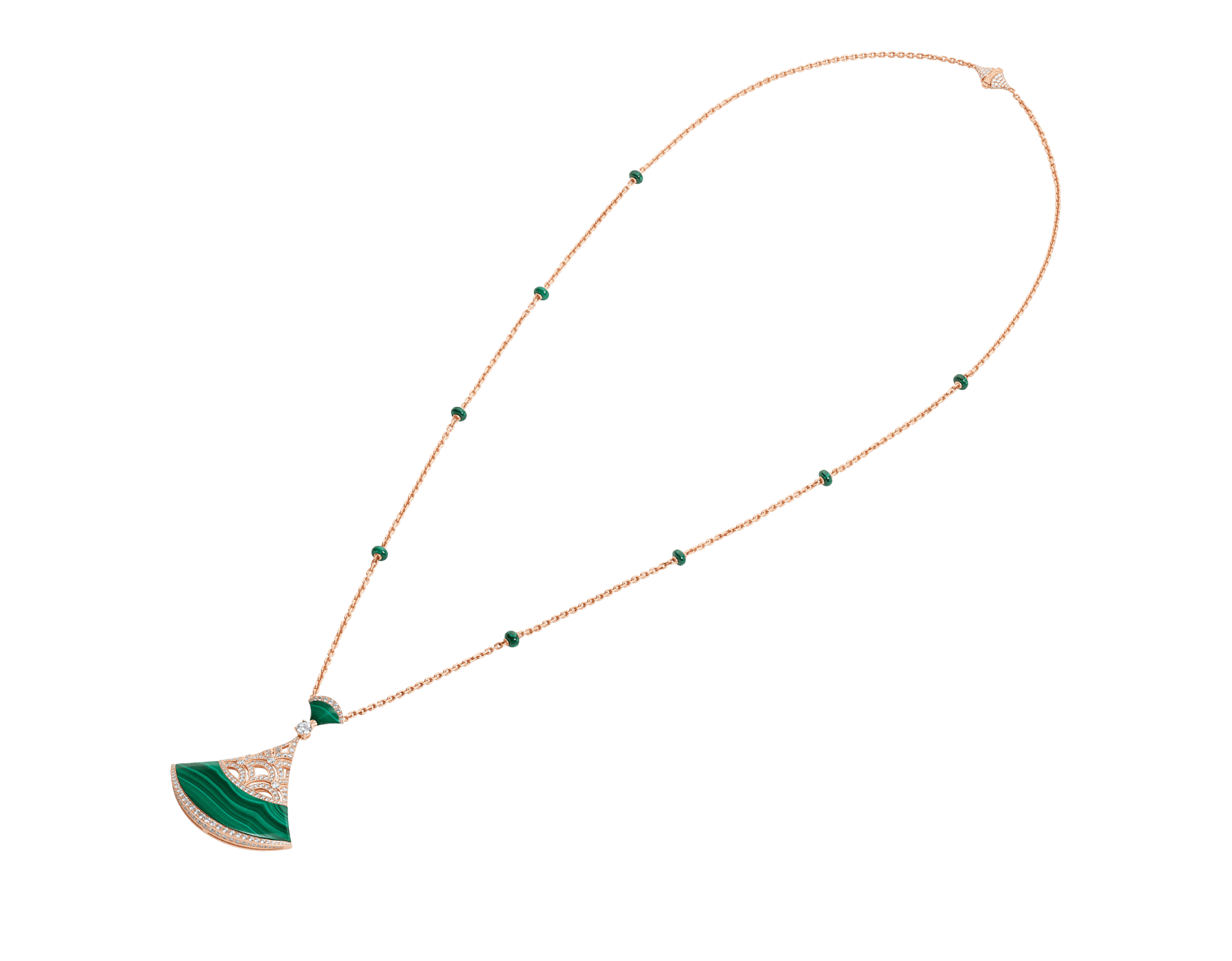 Divas' Dream necklace with 18 kt rose gold chain set with malachite beads and diamonds, and 18 kt rose gold openwork pendant set with a diamond (0.50 ct), pavé diamonds and malachite inserts. Special edition exclusive to Middle East 358222 image 2