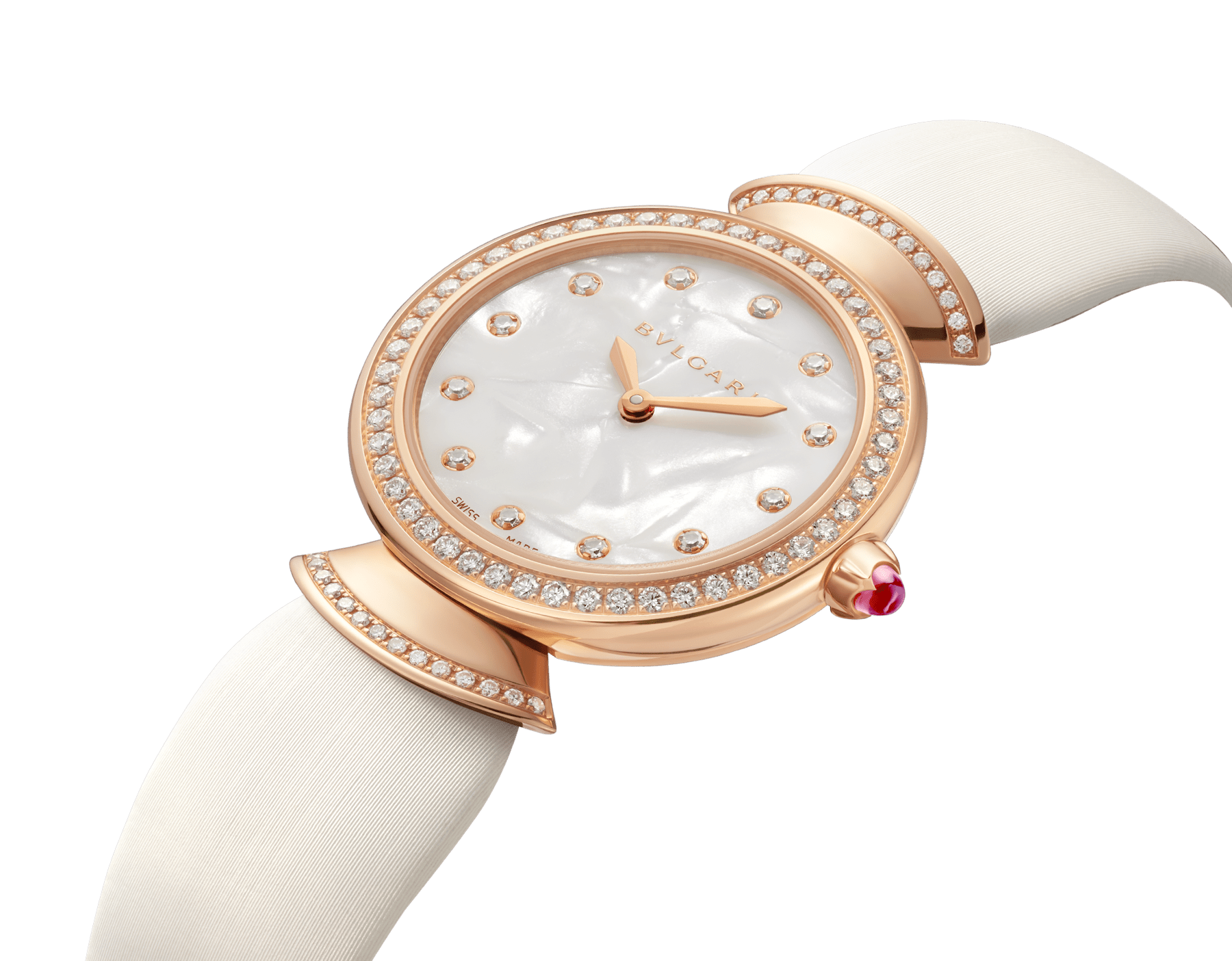 Montre DIVAS' DREAM avec boîtier en or rose 18 K serti de diamants taille brillant, cadran en acétate naturel, index sertis de diamants et bracelet en satin blanc 102433 image 2