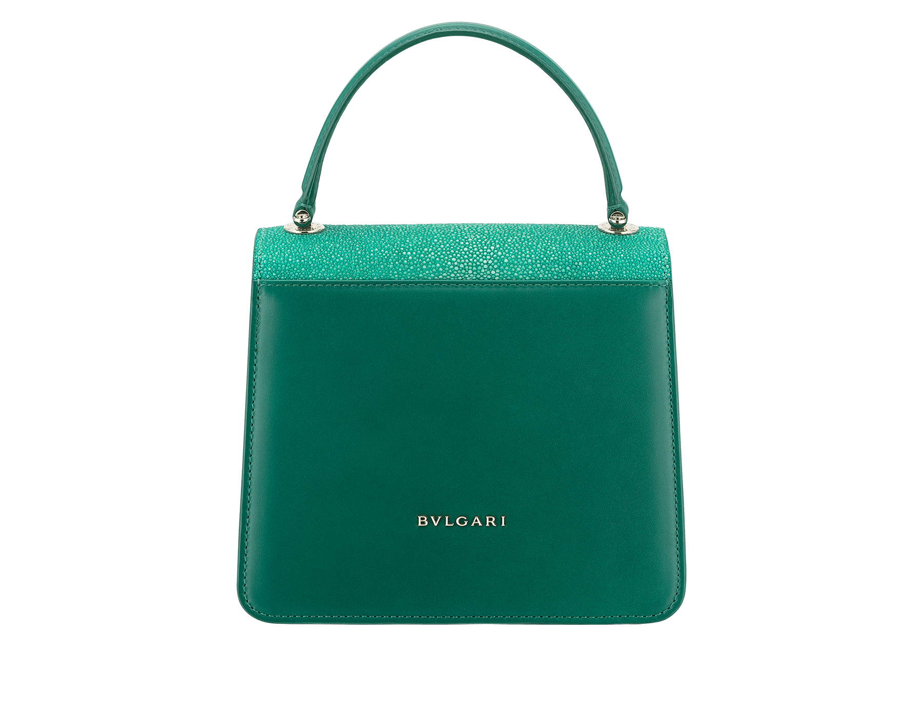 Serpenti Forever crossbody bag in sea star coral galuchat skin and smooth calf leather. Snakehead closure in light gold plated brass decorated with black and white enamel, and green malachite eyes. 752-Ga image 3
