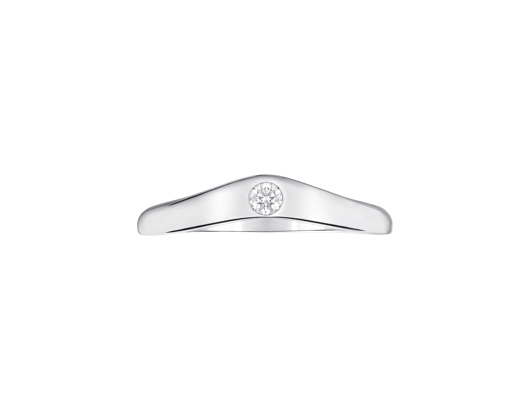 Corona platinum wedding band, set with a diamond. AN856296 image 3