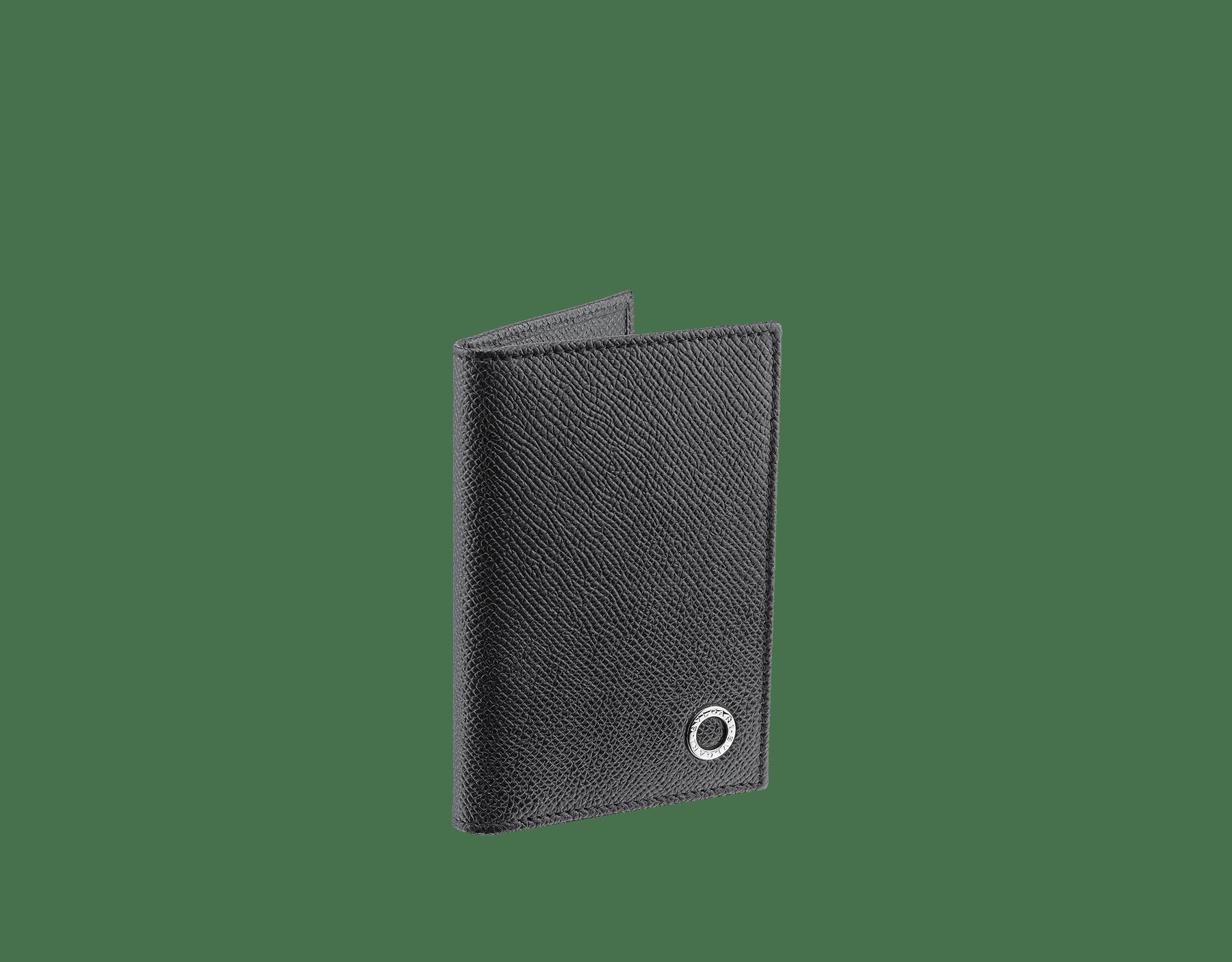 Folded credit card holder in black calf leather with brass palladium plated BVLGARI BVLGARI motif. 280292 image 1
