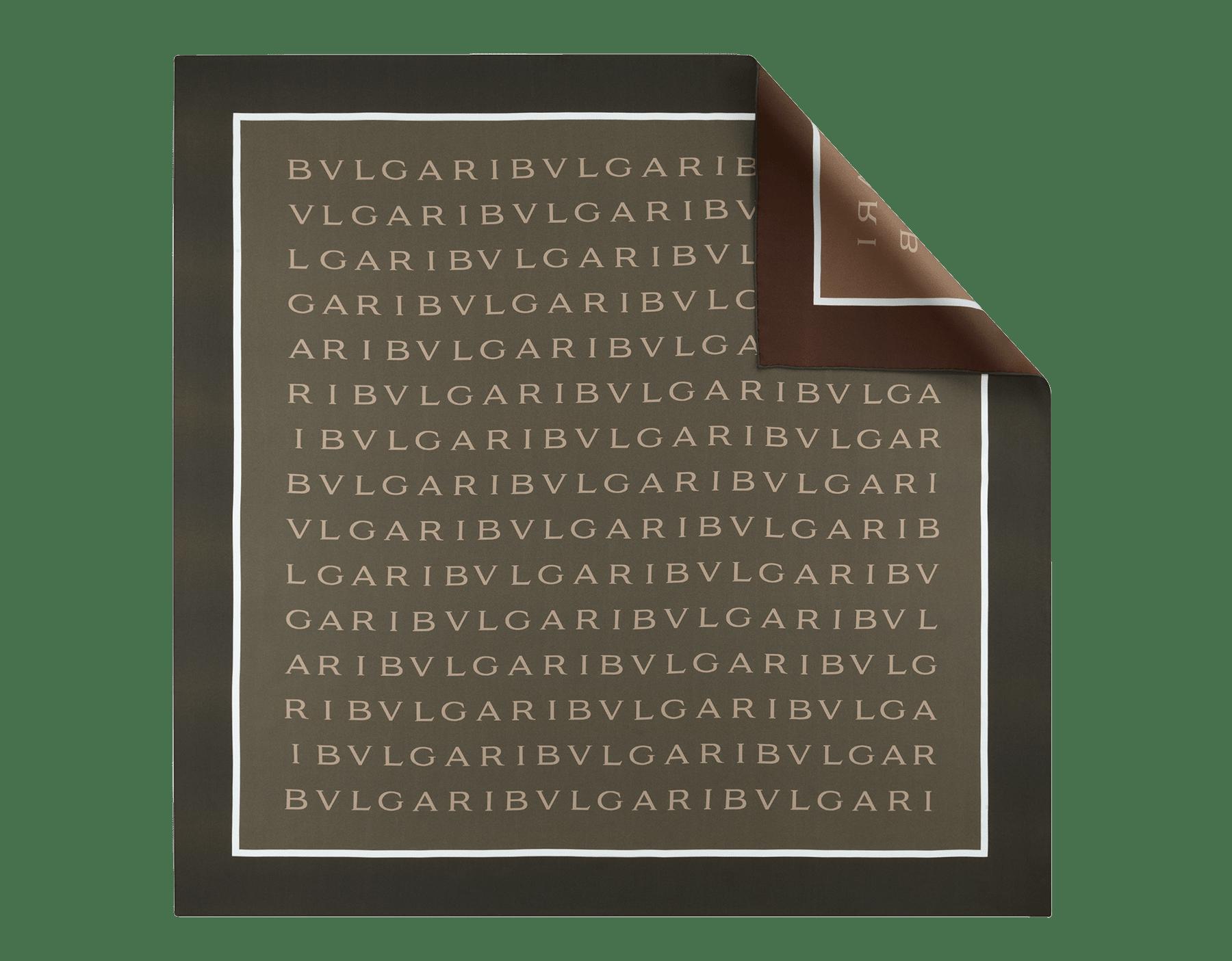 Jadegrünes und schwarzes Logo Double Halstuch aus feinem Seidentwill. 244558 image 1