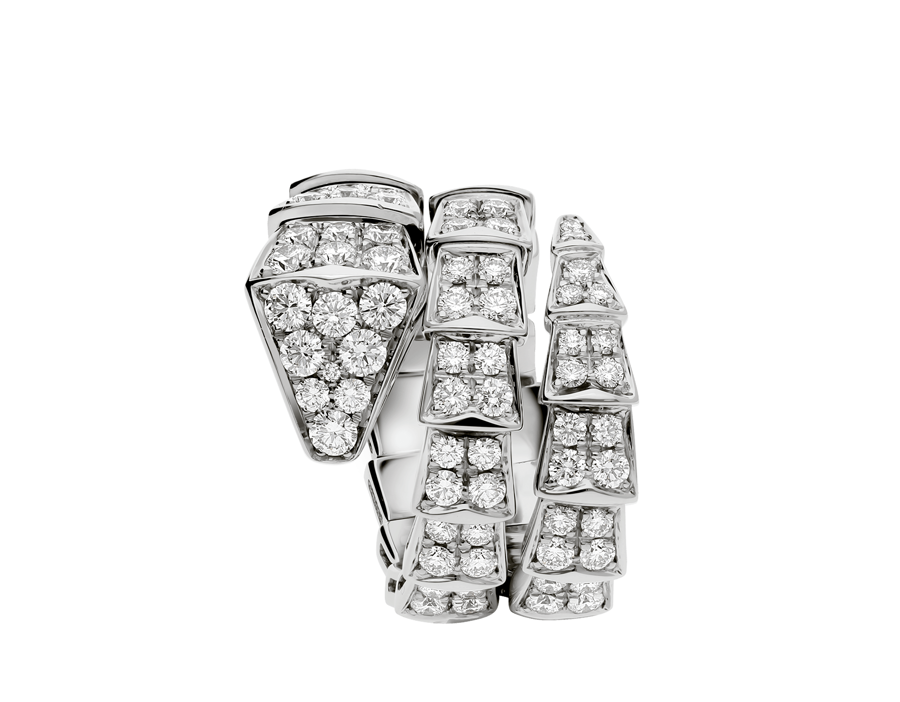 Serpenti Viper two-coil ring in 18 kt white gold, set with full pavé diamonds. AN855117 image 2