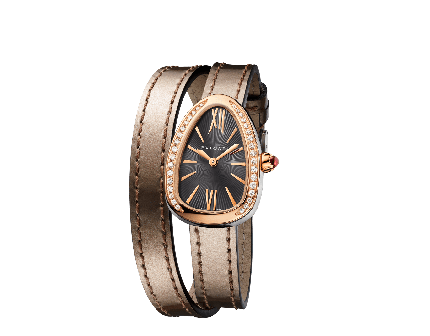 Serpenti watch with stainless steel case, 18 kt rose gold bezel set with diamonds, grey lacquered dial and interchangeable double spiral bracelet in antique bronze brushed metallic calf leather. 102968 image 2