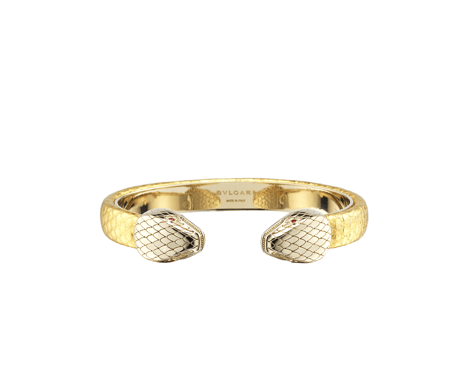 """""""Serpenti Forever"""" bangle bracelet in gold """"Molten"""" karung skin. New contraire Serpenti head embellishment in light gold-plated brass, finished with seductive red enamel eyes. SPContr-MoltK-G image 1"""