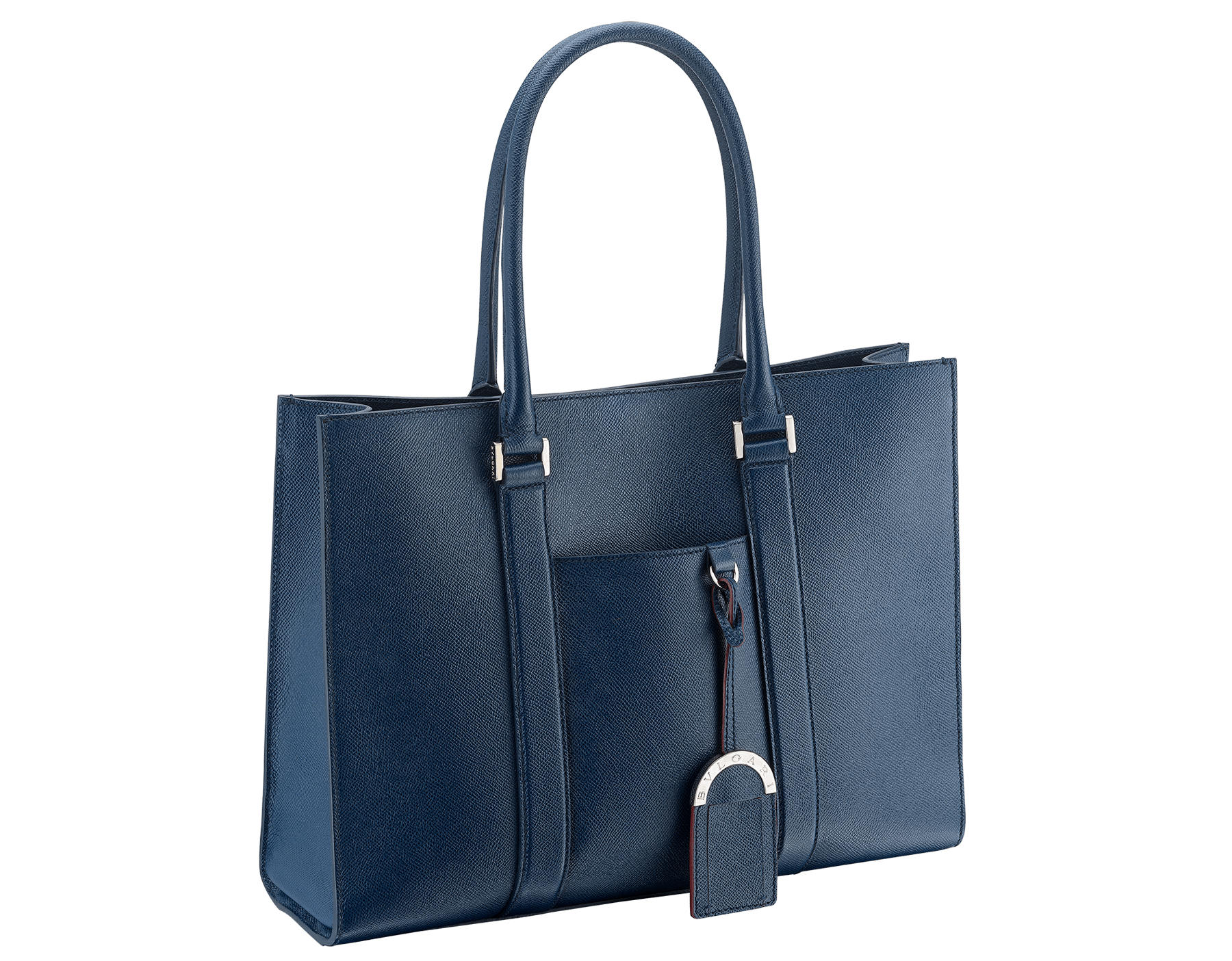 Tote bag in denim sapphire grain calf leather with brass palladium plated hardware. One zipped pocket, three open pockets and Bulgari logo metal tag inside. 39391 image 2