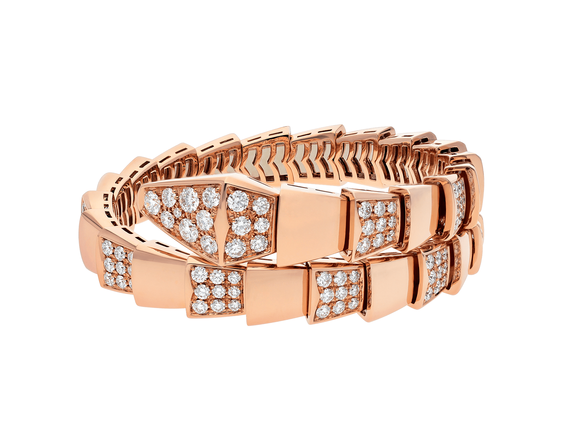 Serpenti Viper one-coil bracelet in 18 kt rose gold, set with demi pavé diamonds. BR855312 image 2