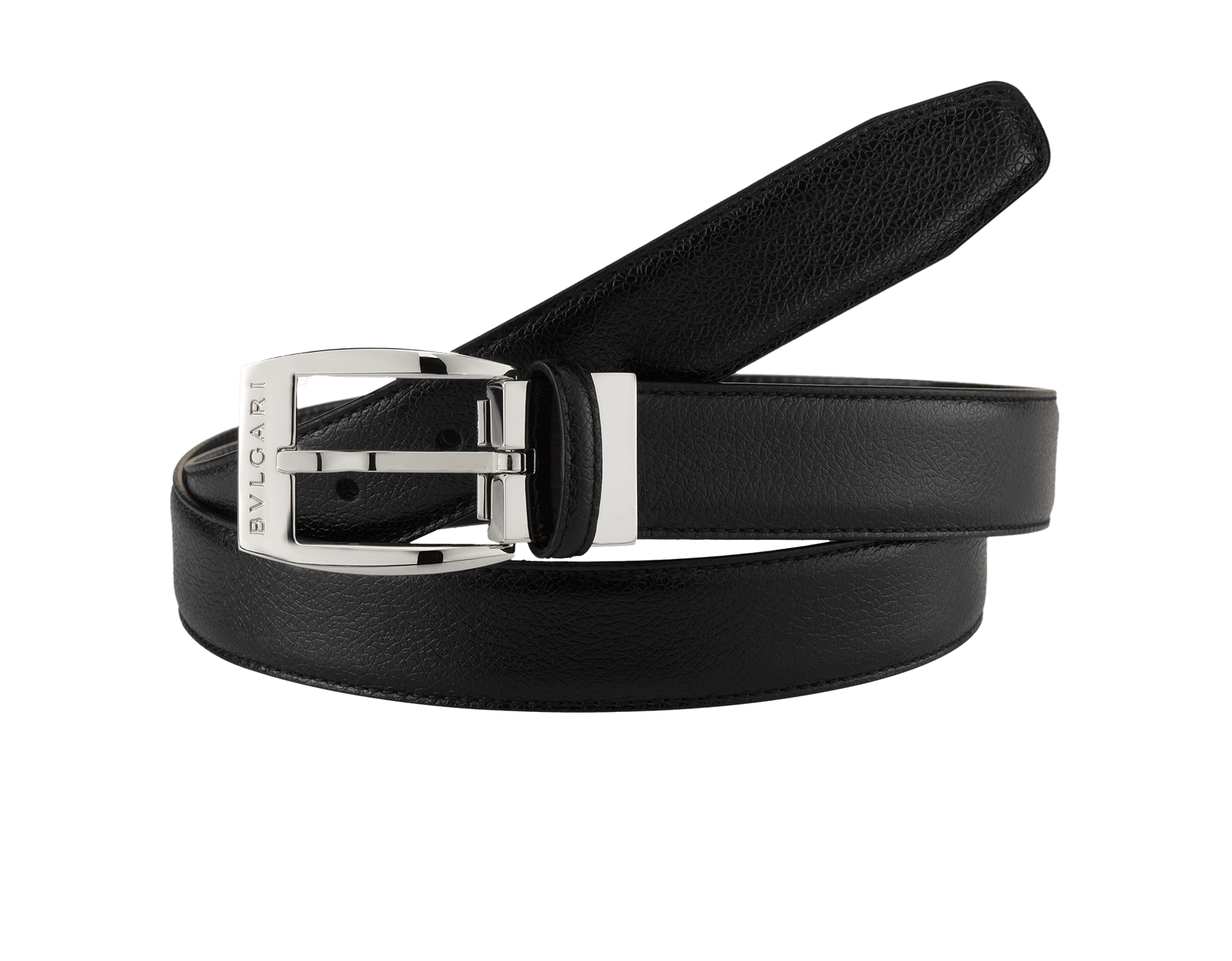 Black country calf leather belt for men with Ellipse closure in brass palladium plated hardware. Also available in other colors and materials. 43.3x1.2 (110x3 cm) ELLIPSE-CCL image 1