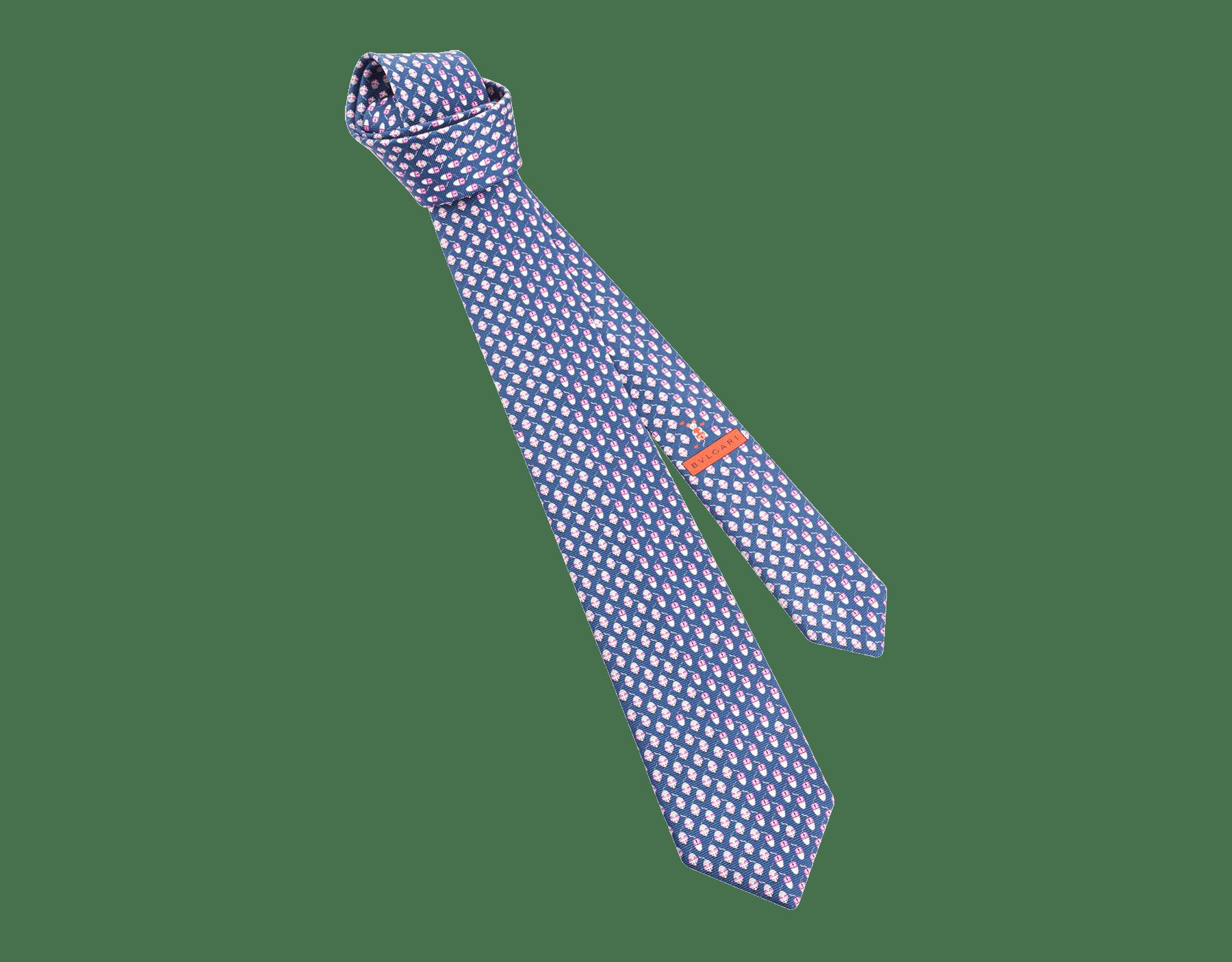 Siebenfach gefaltete lilafarbene Mouse Click Krawatte aus feiner, bedruckter Saglione-Seide. MouseClick image 1