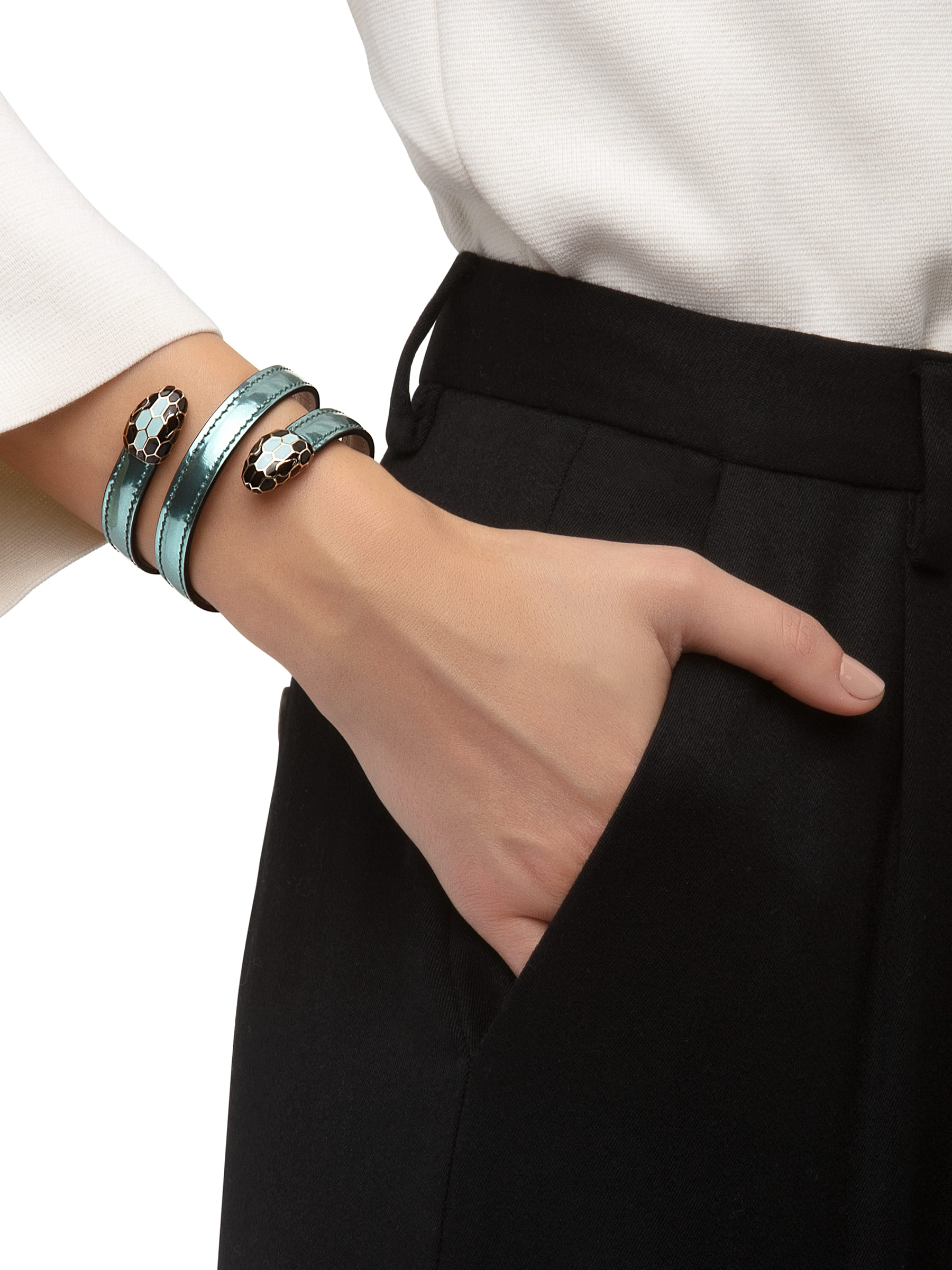 Serpenti Forever multi-coiled rigid Cleopatra bracelet in glacier turquoise brushed metallic calf leather, with brass light gold plated hardware. Iconic double snakehead décor in black and glacier turquoise enamel, with black enamel eyes. Cleopatra-BMCL-GT image 2